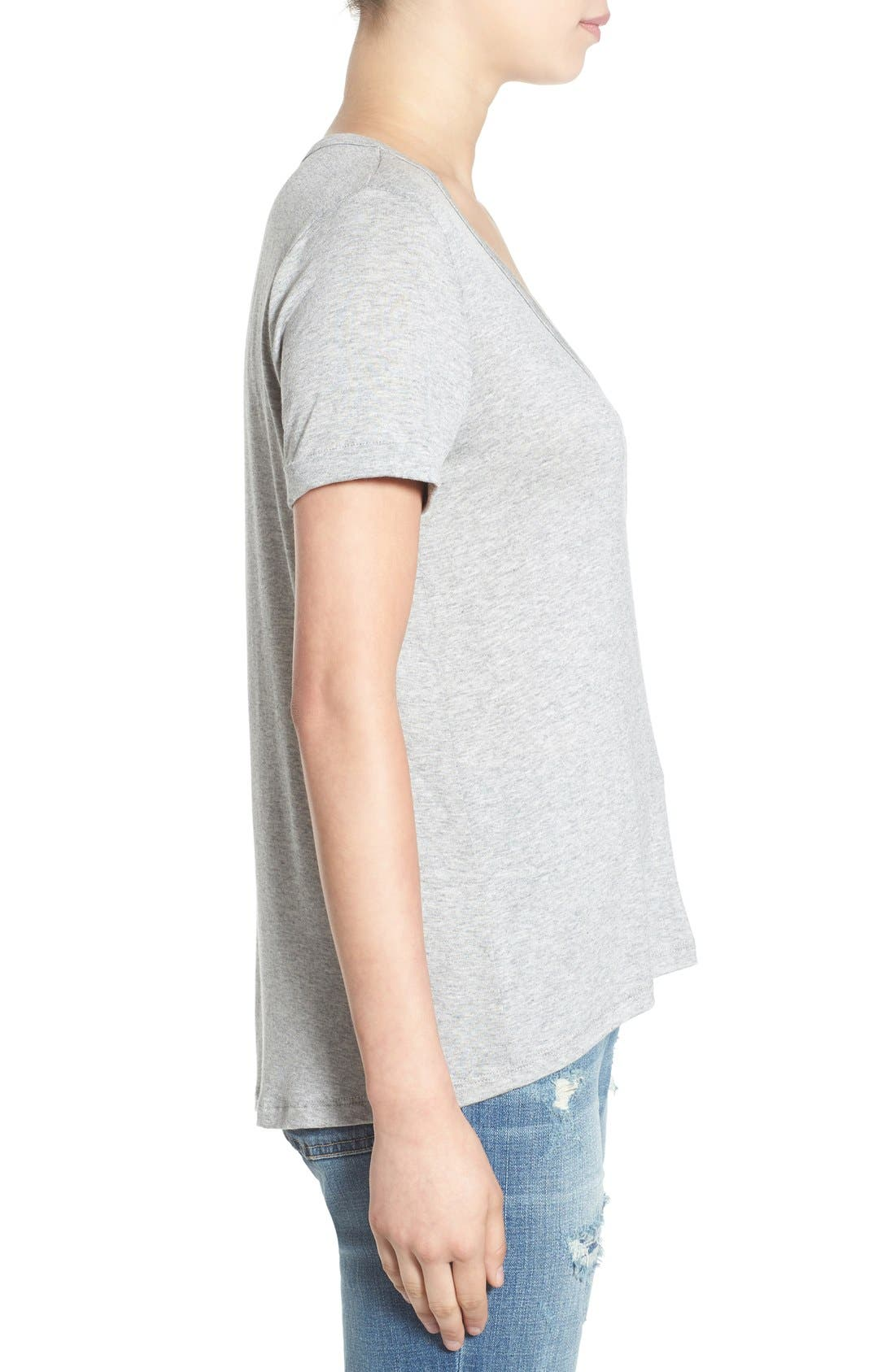 Deep-V Neck Tee,                             Alternate thumbnail 4, color,                             Heather Grey