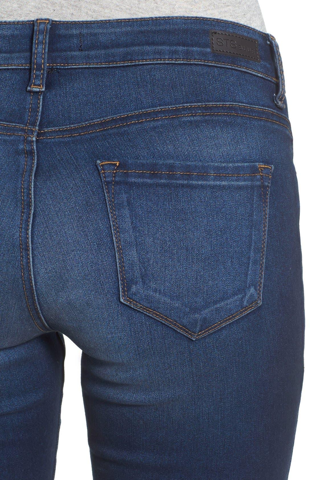 'Piper' Skinny Jeans,                             Alternate thumbnail 6, color,                             Royal Beach
