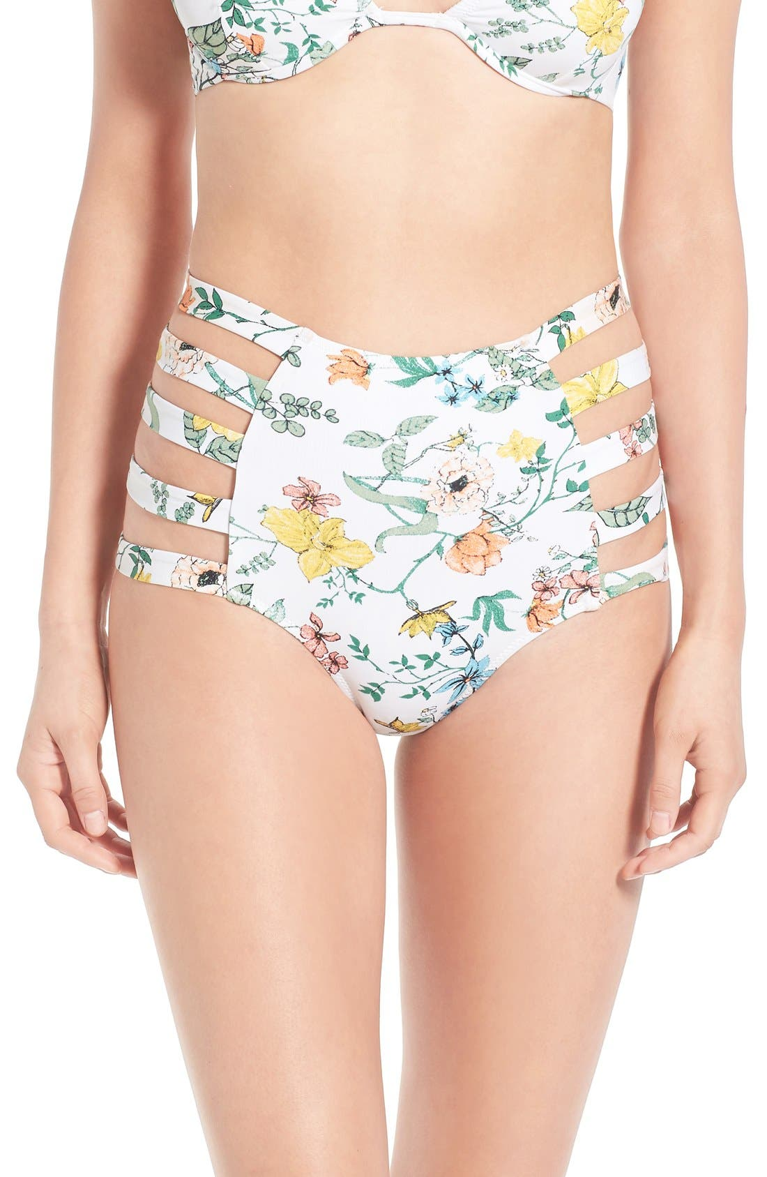 Main Image - Somedays Lovin 'Sunny May' Floral Print Cutout High Rise Bikini Bottoms