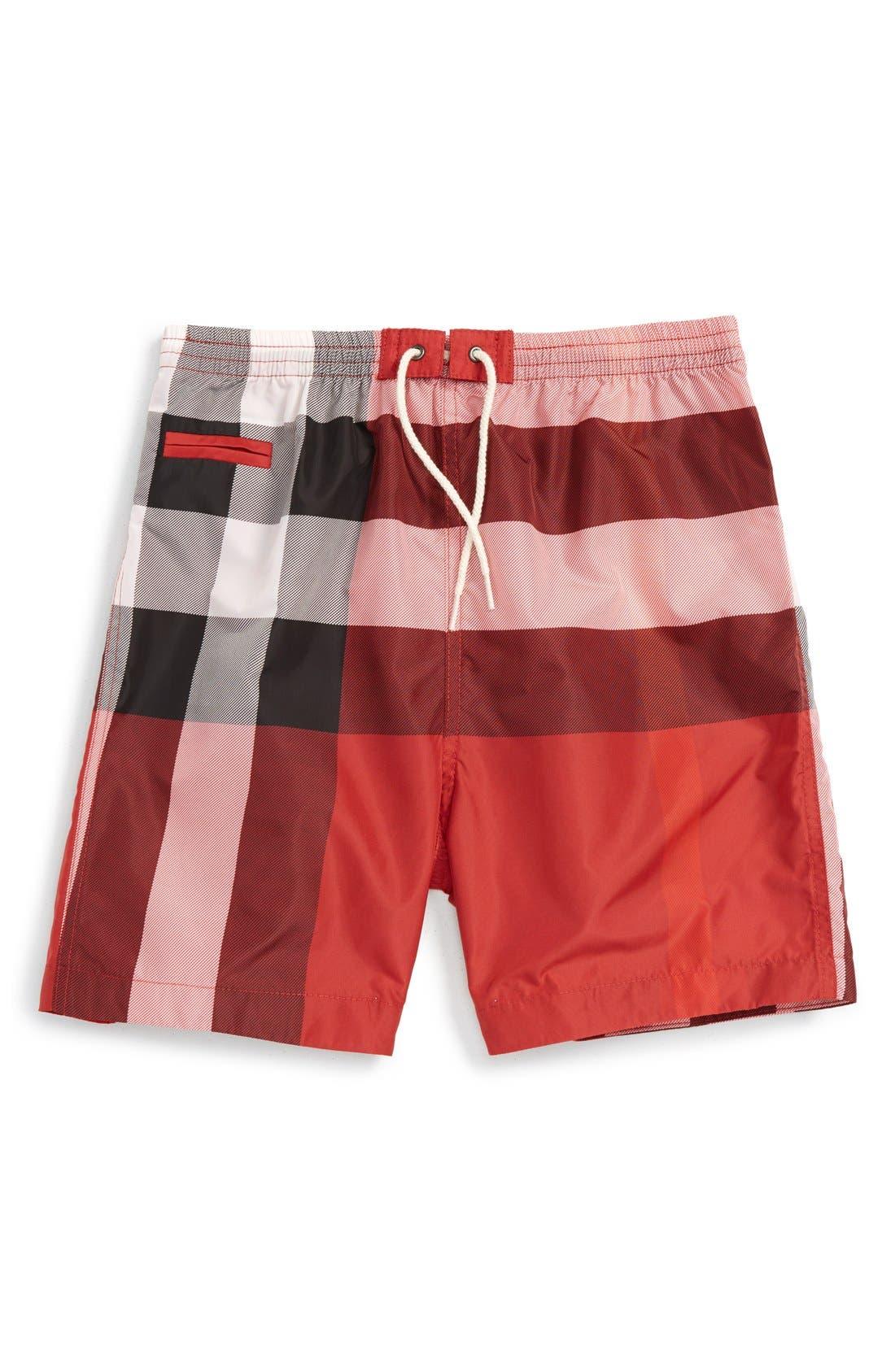 'Saxon' Check Print Swim Trunks,                         Main,                         color, Parade Red