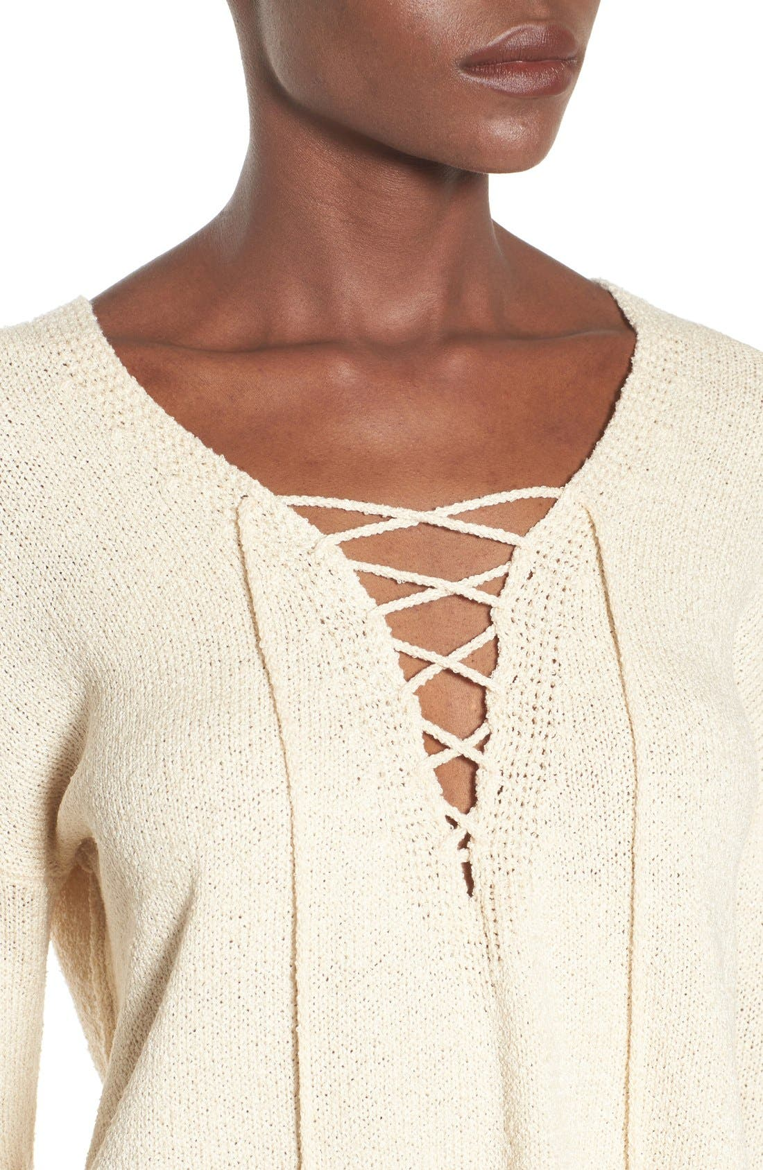 ASTR Lace-Up Sweater,                             Alternate thumbnail 4, color,                             Ivory