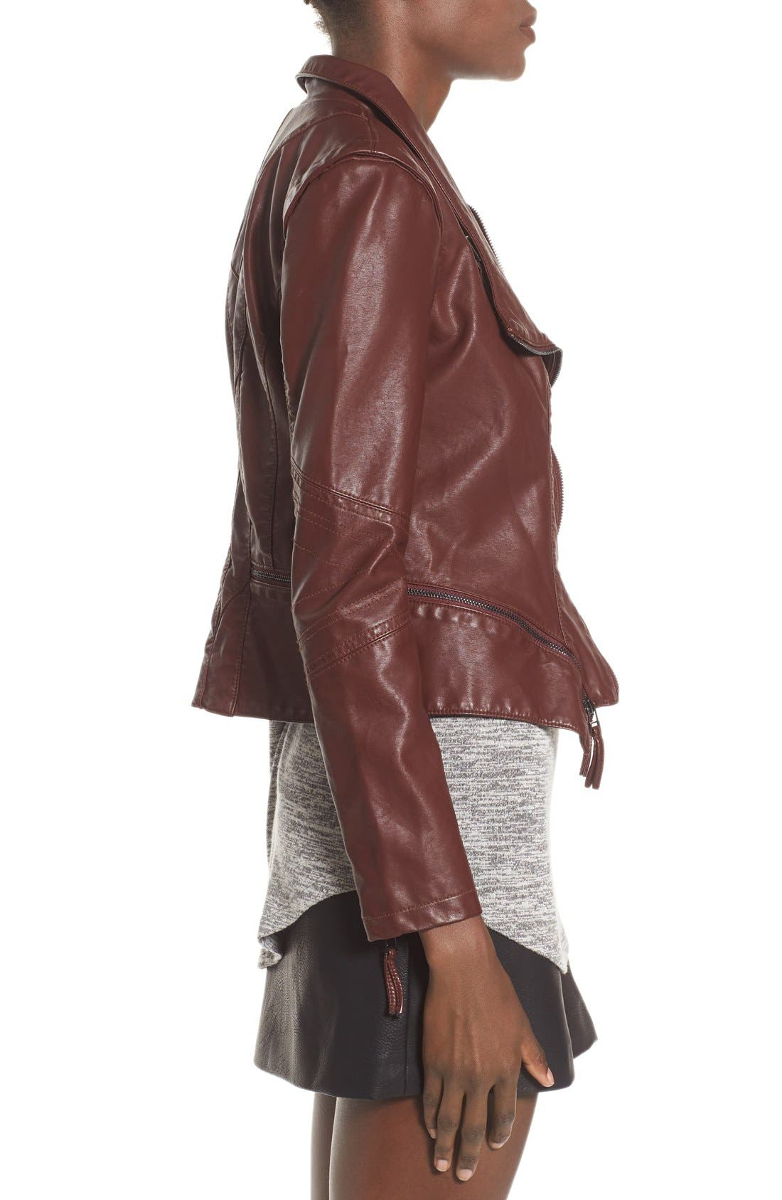 Faux Leather Jacket,                             Alternate thumbnail 4, color,                             Touch And Go