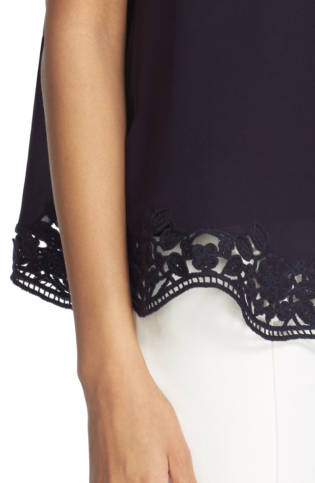 Alternate Image 4  - kate spade new york embroidered trim silk swing top
