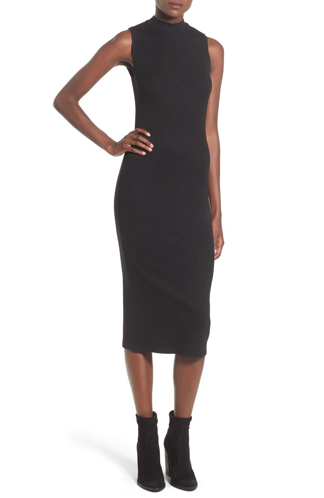 Mock Neck Midi Dress,                         Main,                         color, Black