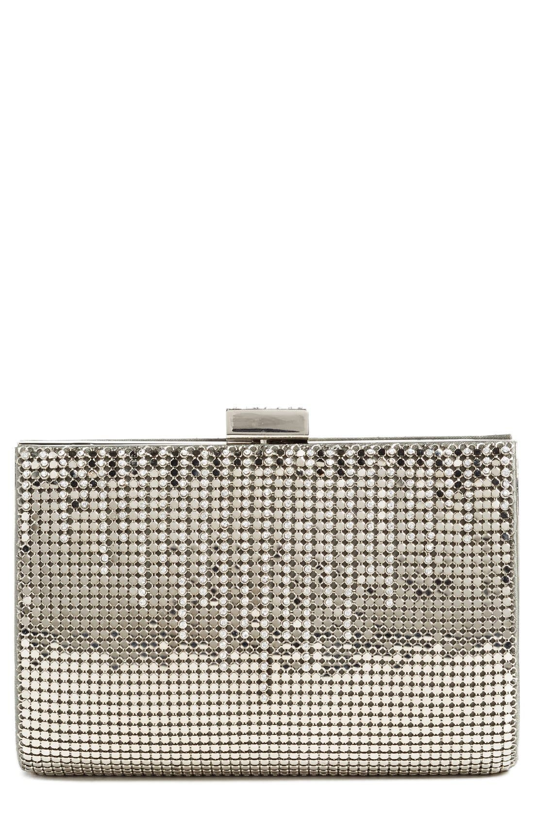 'Diamond Drips' Evening Clutch,                             Main thumbnail 1, color,                             Pewter
