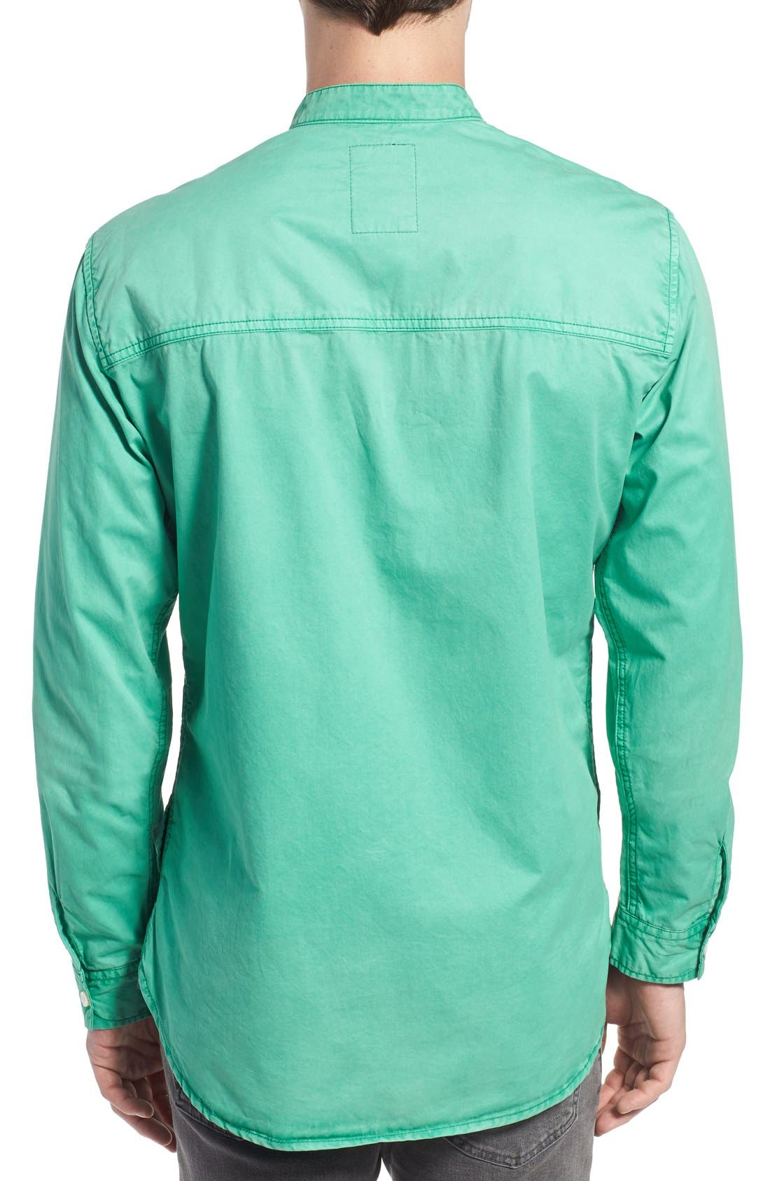 'Cotinga' Extra Trim Fit Band Collar Woven Shirt,                             Alternate thumbnail 3, color,                             Green