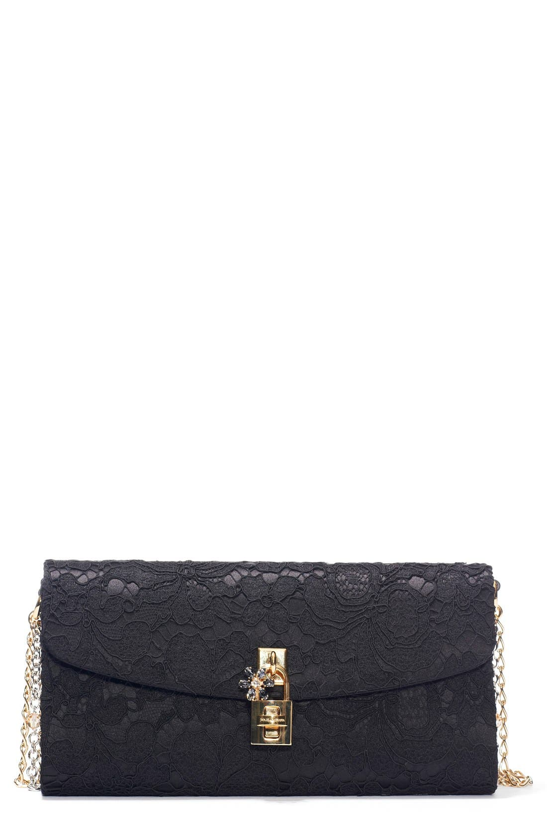Lace Pouchette Clutch,                         Main,                         color, Black