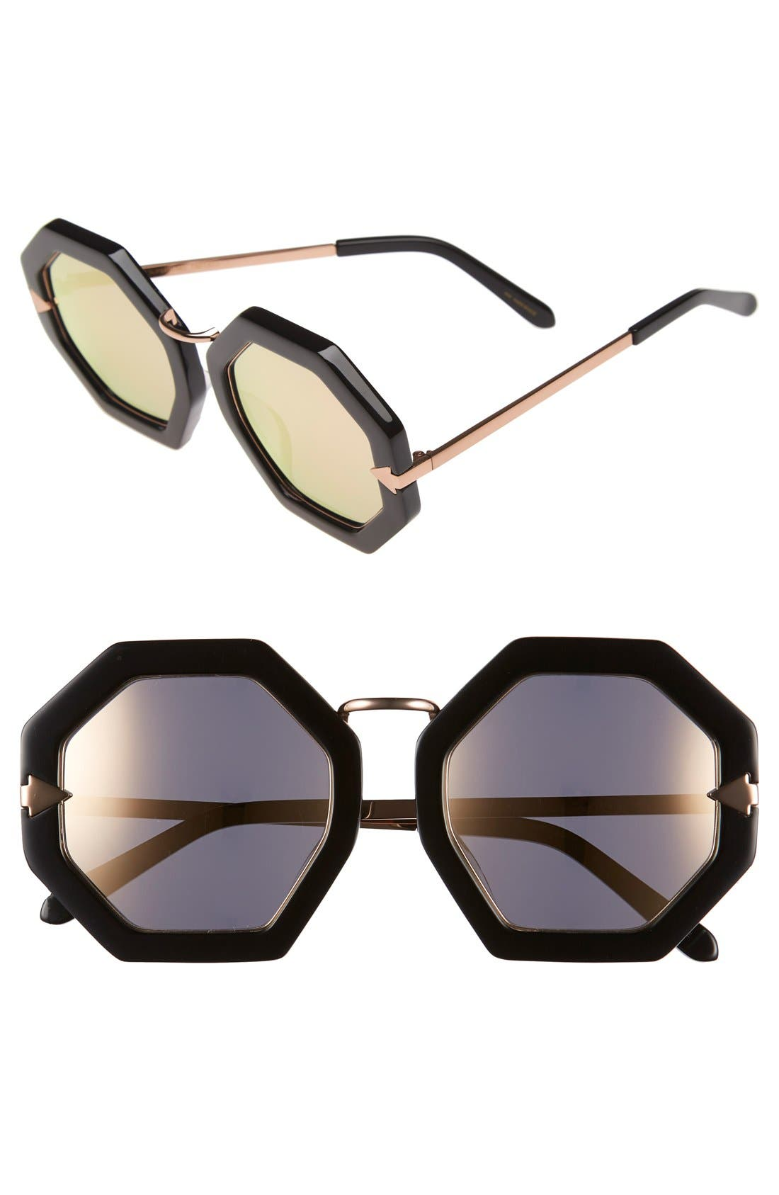 'Moon Disco' 53mm Sunglasses,                             Main thumbnail 1, color,                             Black With Rose Gold