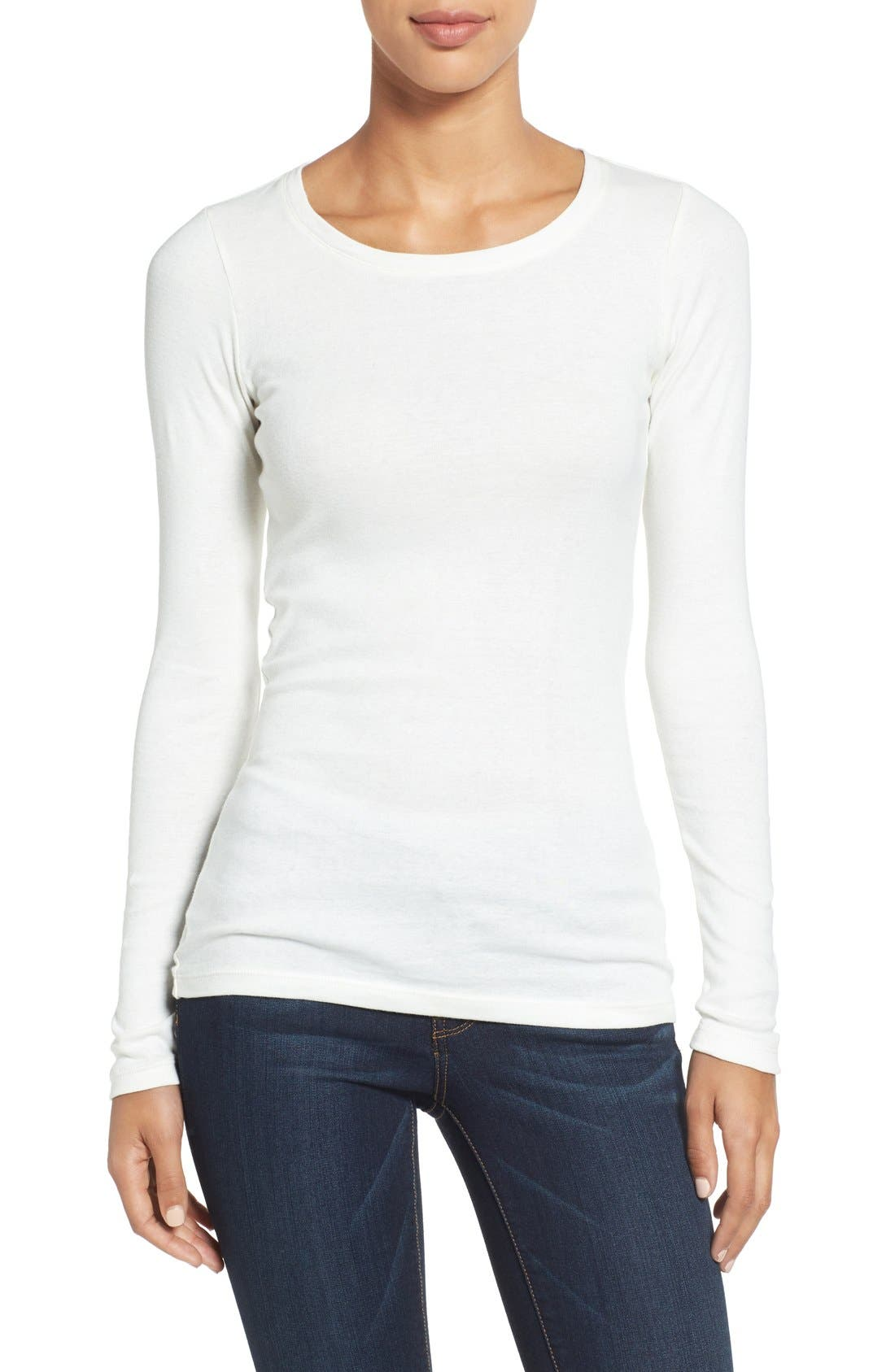 Alternate Image 1 Selected - Caslon® Long Sleeve Scoop Neck Cotton Tee (Regular & Petite)