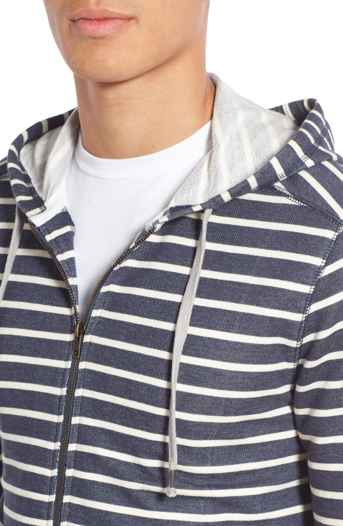 Alternate Image 4  - 1901 'Ashland' Stripe Zip Front Hoodie