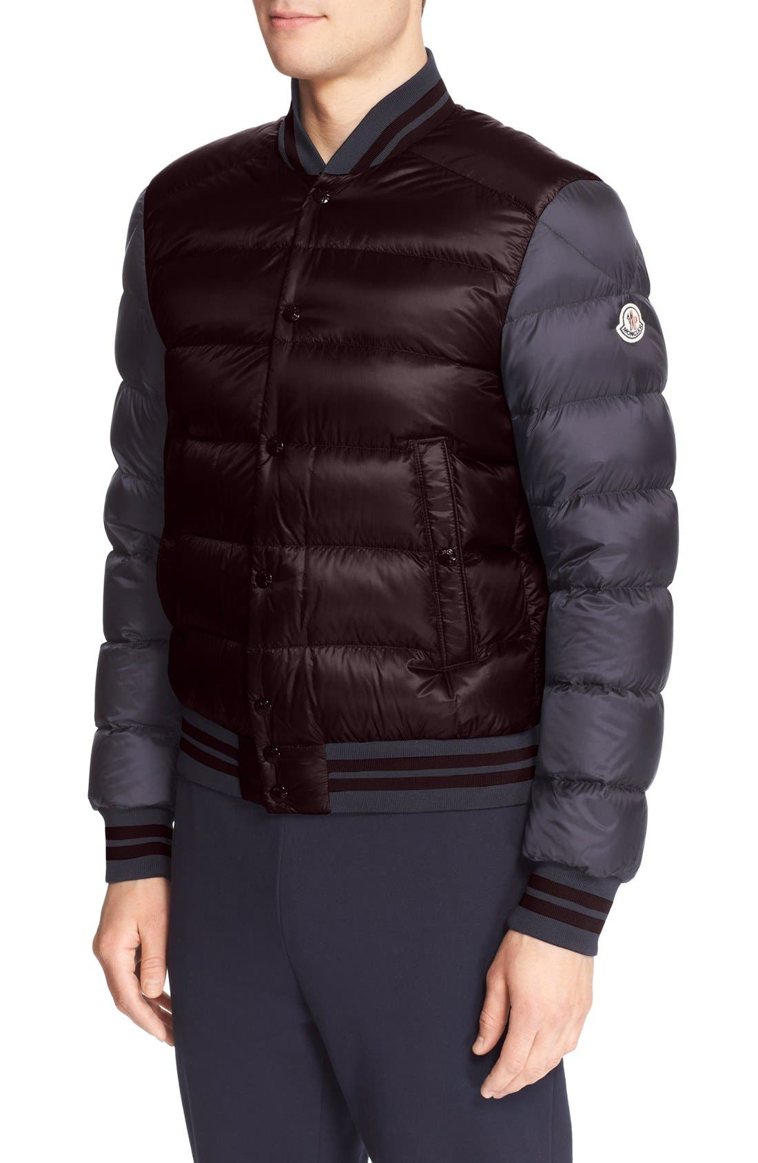 'Bardford' Channel Quilted Down Baseball Jacket,                         Main,                         color, Burgundy Navy