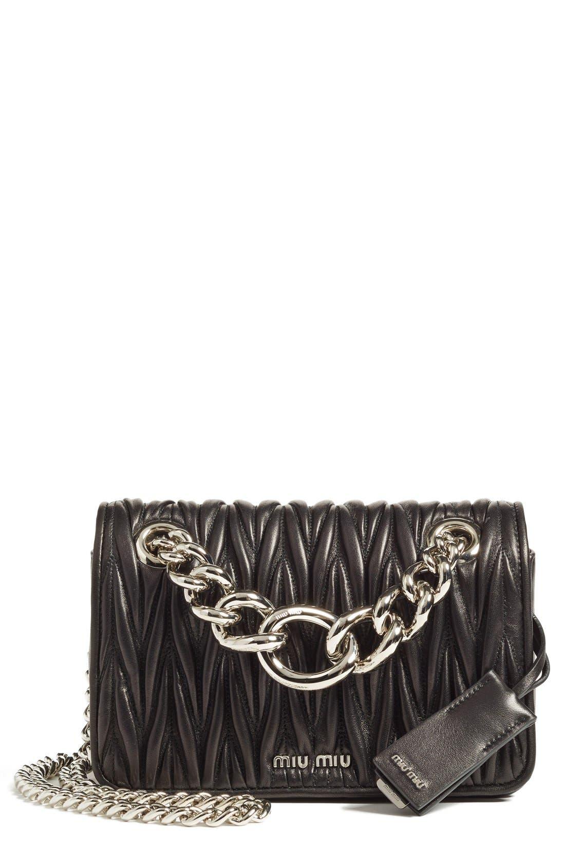 Small Matelassé Leather Shoulder Bag,                         Main,                         color, Nero