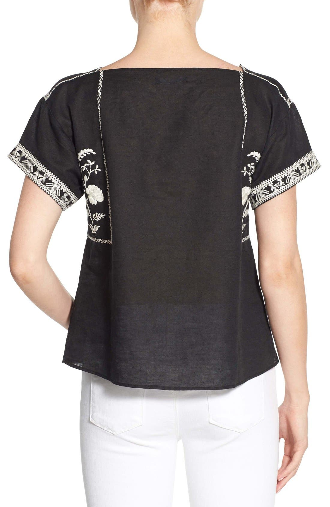 Wildfield Embroidered Top,                             Alternate thumbnail 2, color,                             Classic Black