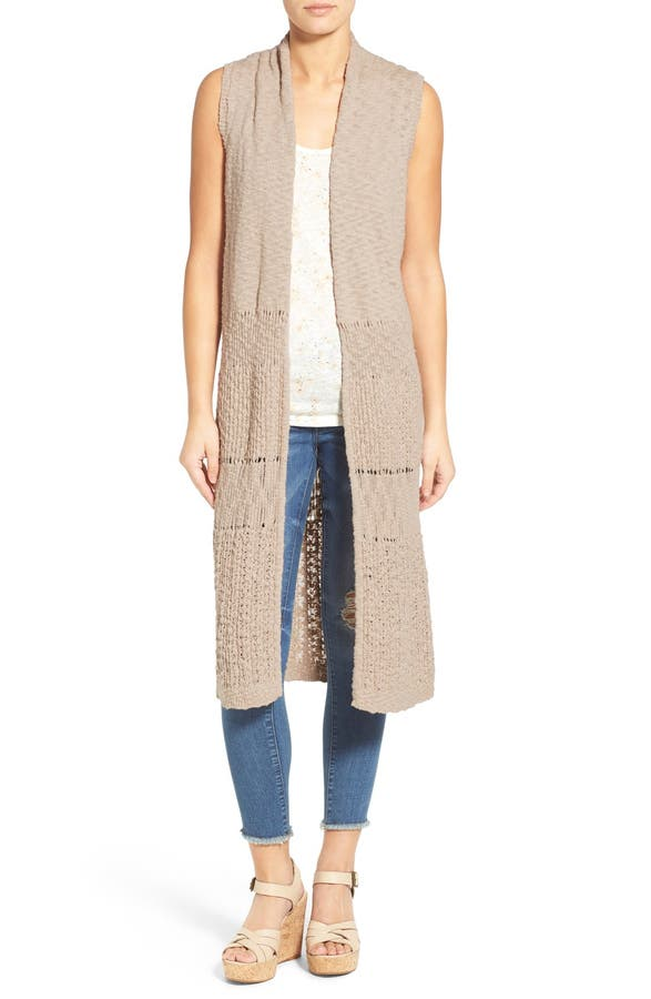 Caslon® Mixed Stitch Long Sweater Vest | Nordstrom