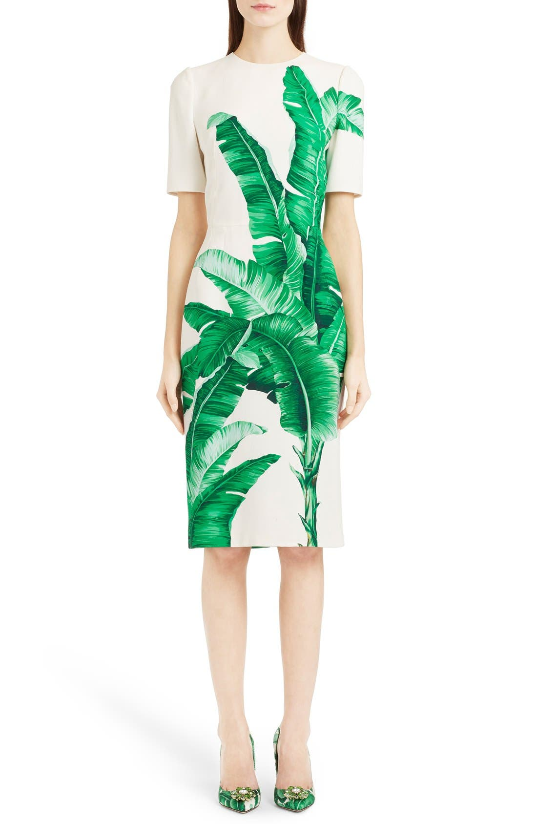 Alternate Image 1 Selected - Dolce&Gabbana Banana Leaf Print Cady Dress