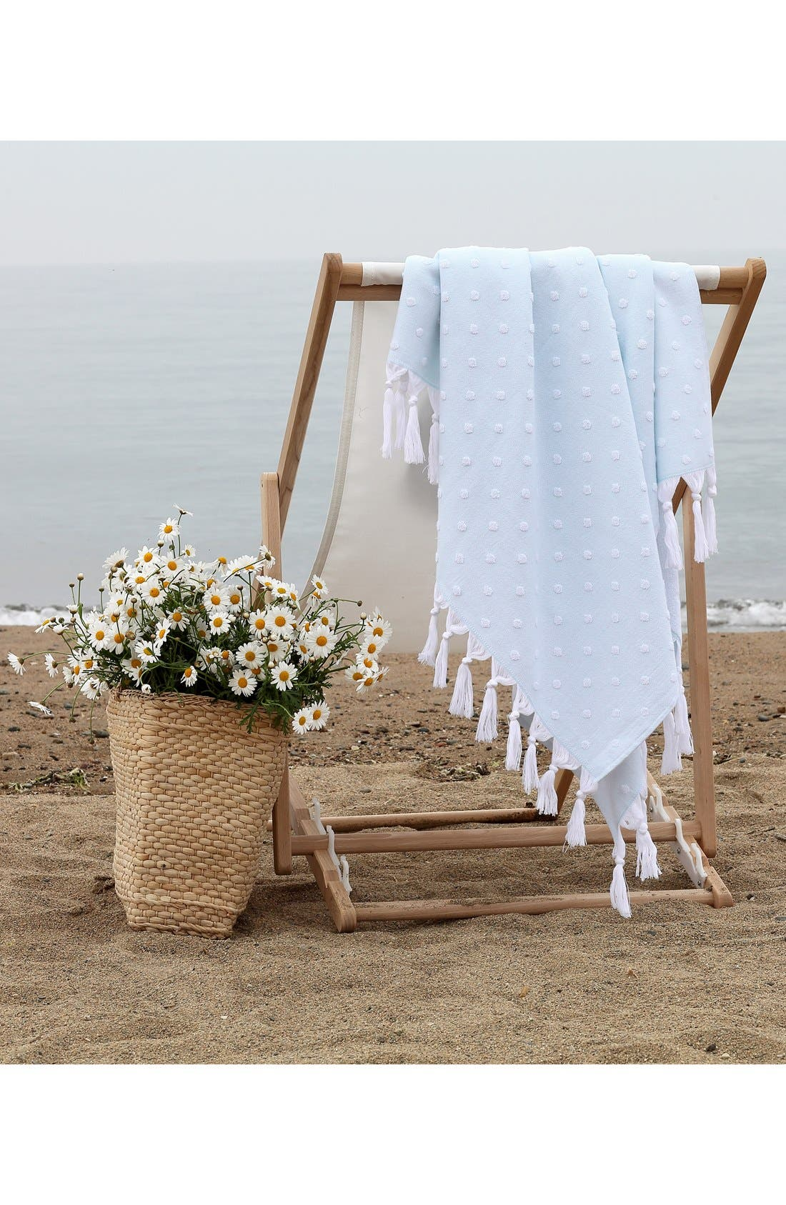 'Ephesus' Turkish Pestemal Towel,                             Alternate thumbnail 4, color,                             Soft Aqua