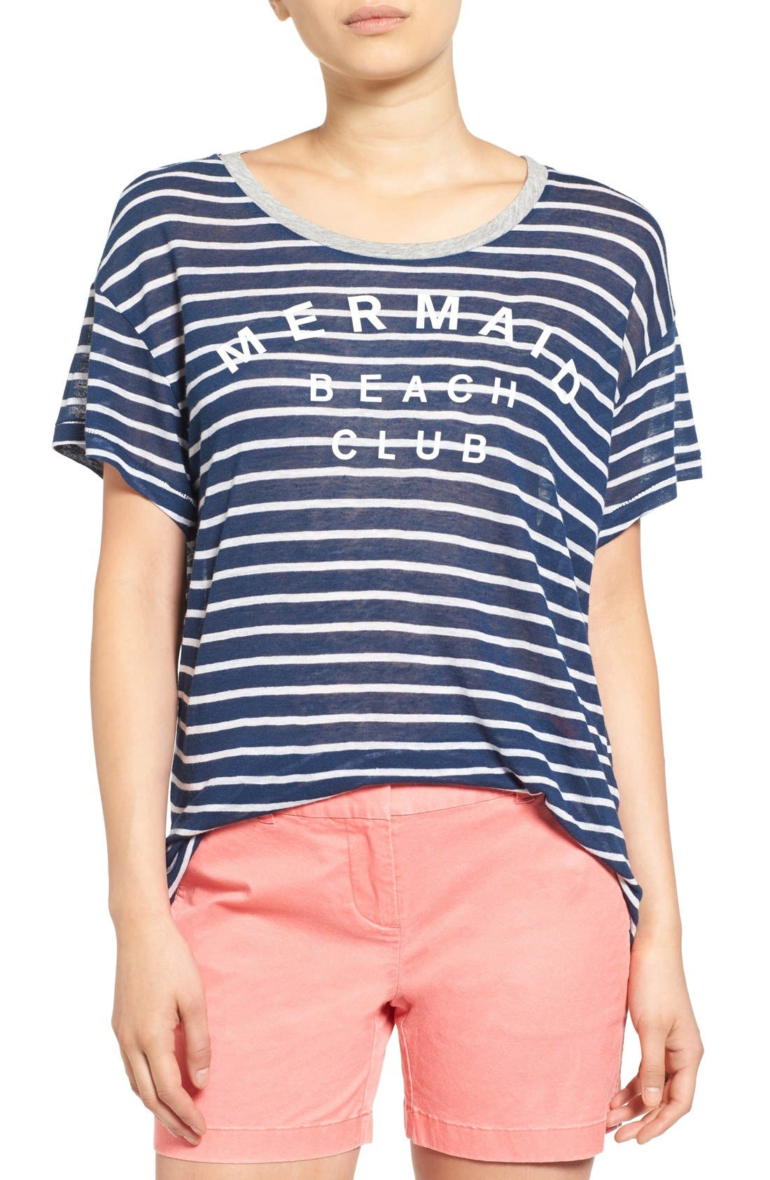 Alternate Image 1 Selected - Sundry 'Mermaid Club' Stripe Tee