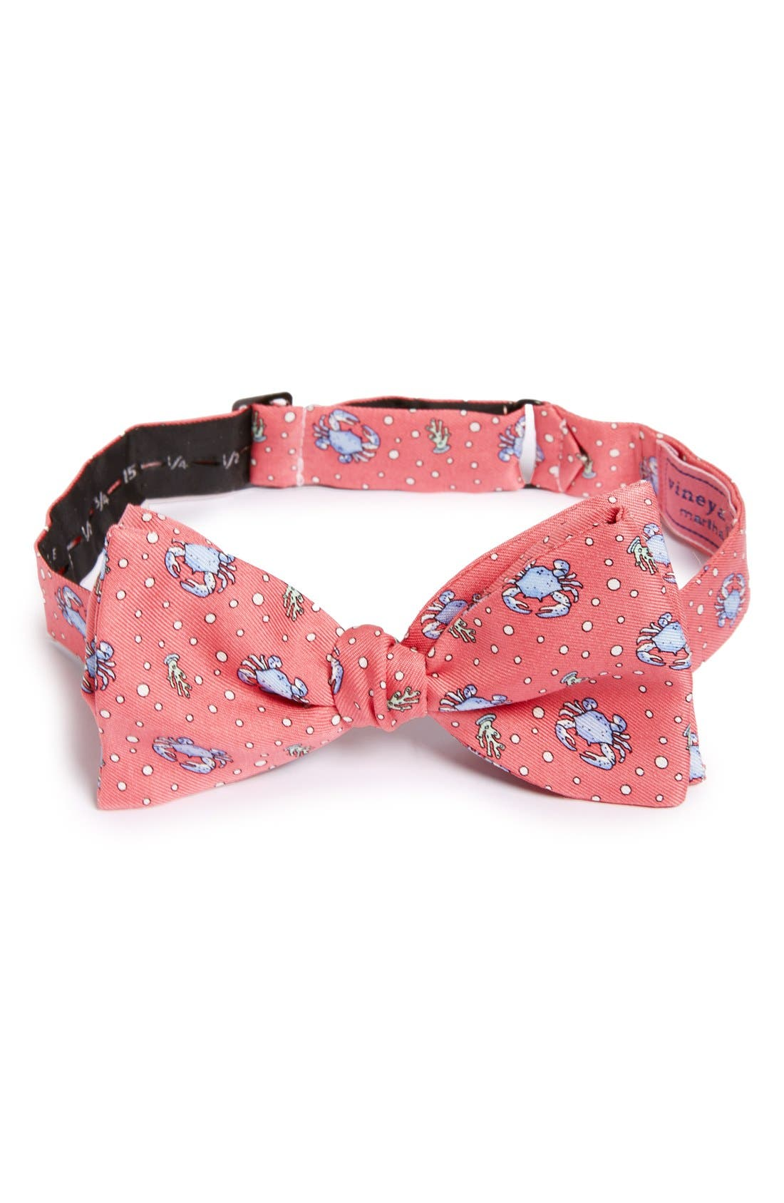Crab Silk Bow Tie,                         Main,                         color, Raspberry