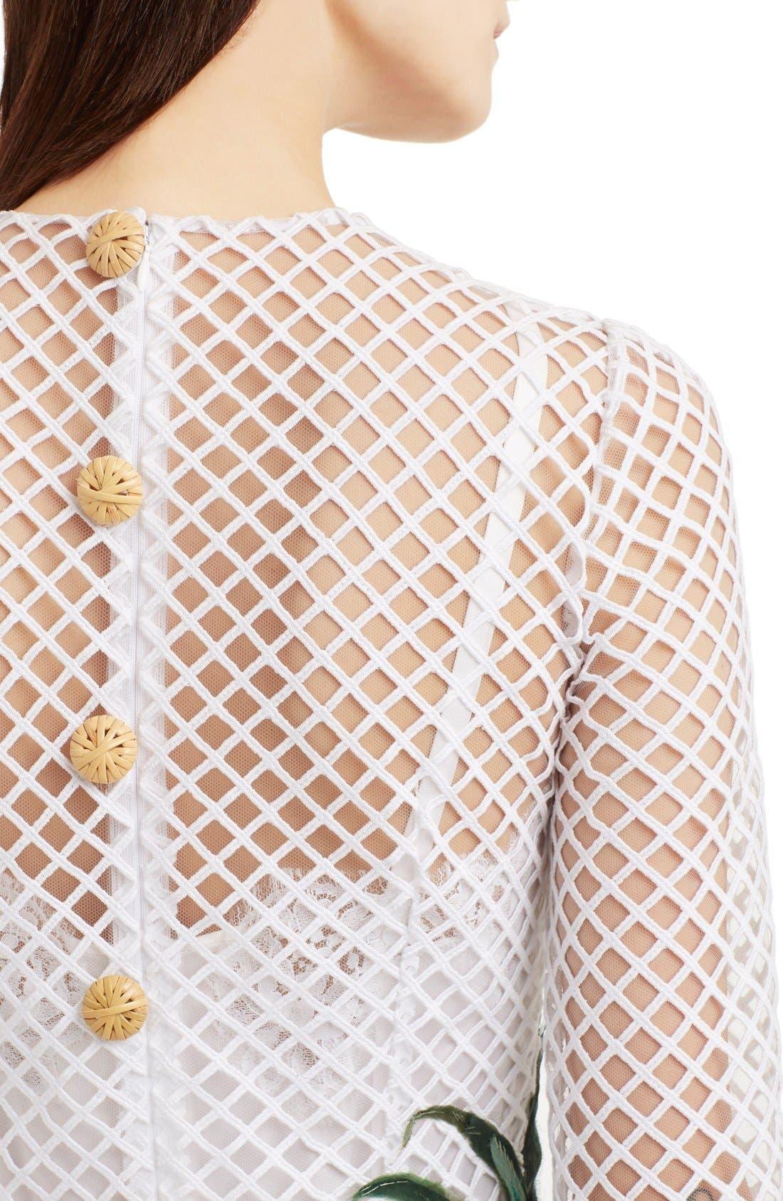 Alternate Image 6  - Dolce&Gabbana Banana Leaf Embellished Mesh Lace Dress