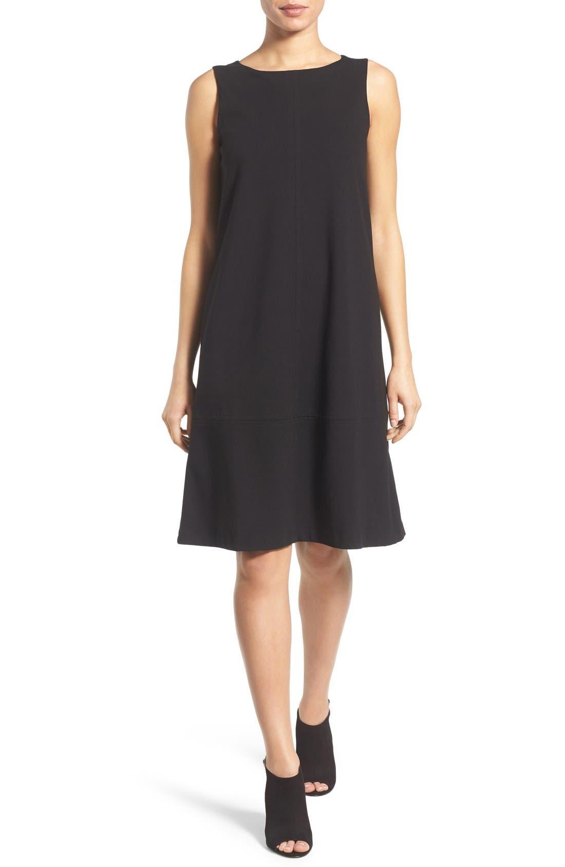 Main Image - Eileen Fisher Bateau Neck Drop Waist Shift Dress (Regular & Petite)