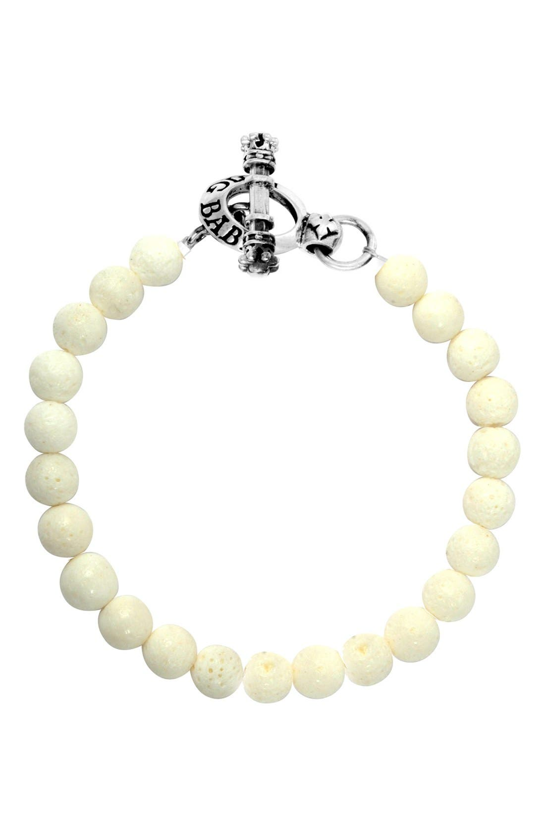 Coral Bead Bracelet,                             Main thumbnail 1, color,                             Silver/ White