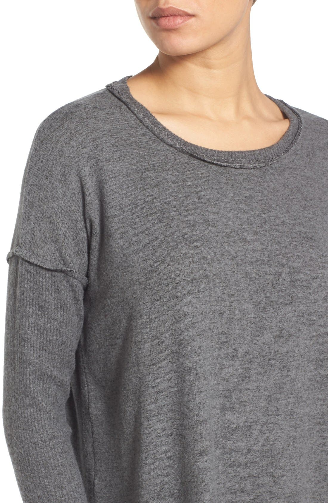 Alternate Image 4  - Bobeau Rib Long Sleeve Fuzzy Top (Regular & Petite)