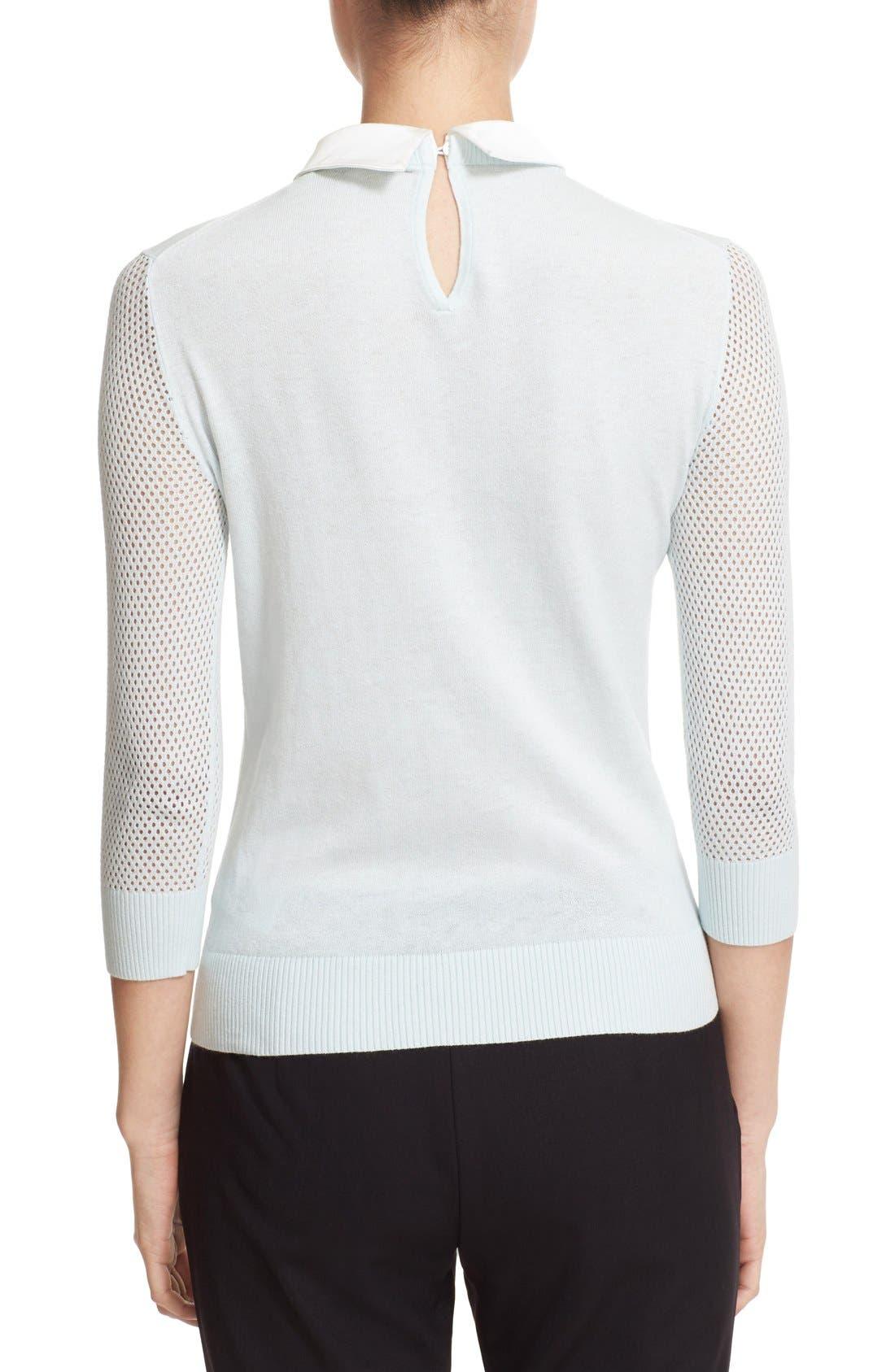 Alternate Image 2  - Ted Baker London Embellished Collar Mesh Sleeve Sweater