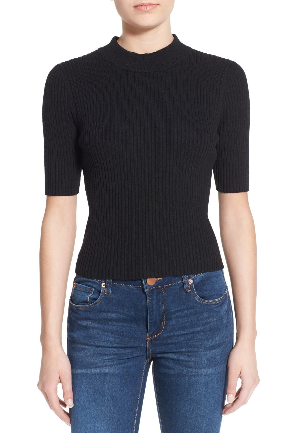Main Image - BP. Short Sleeve Rib Knit Pullover