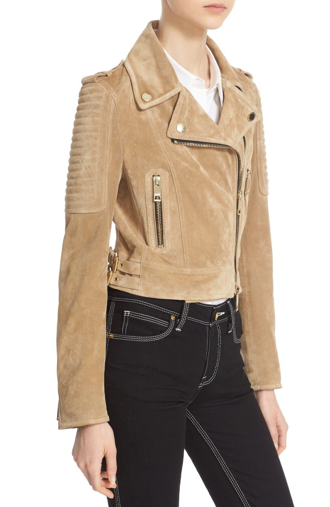 Alternate Image 6  - Burberry 'Peakhurst' Suede Biker Jacket with Removable Genuine Shearling Collar