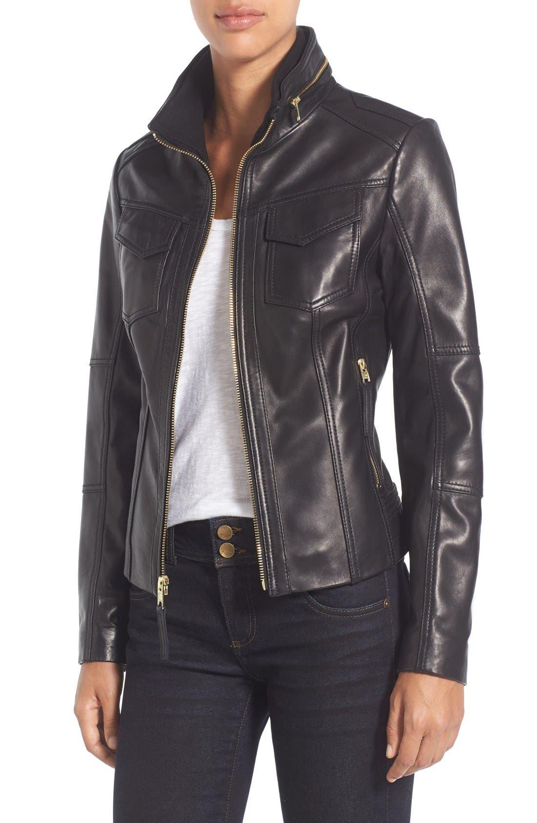 Front Zip Leather Jacket,                             Main thumbnail 1, color,                             Black