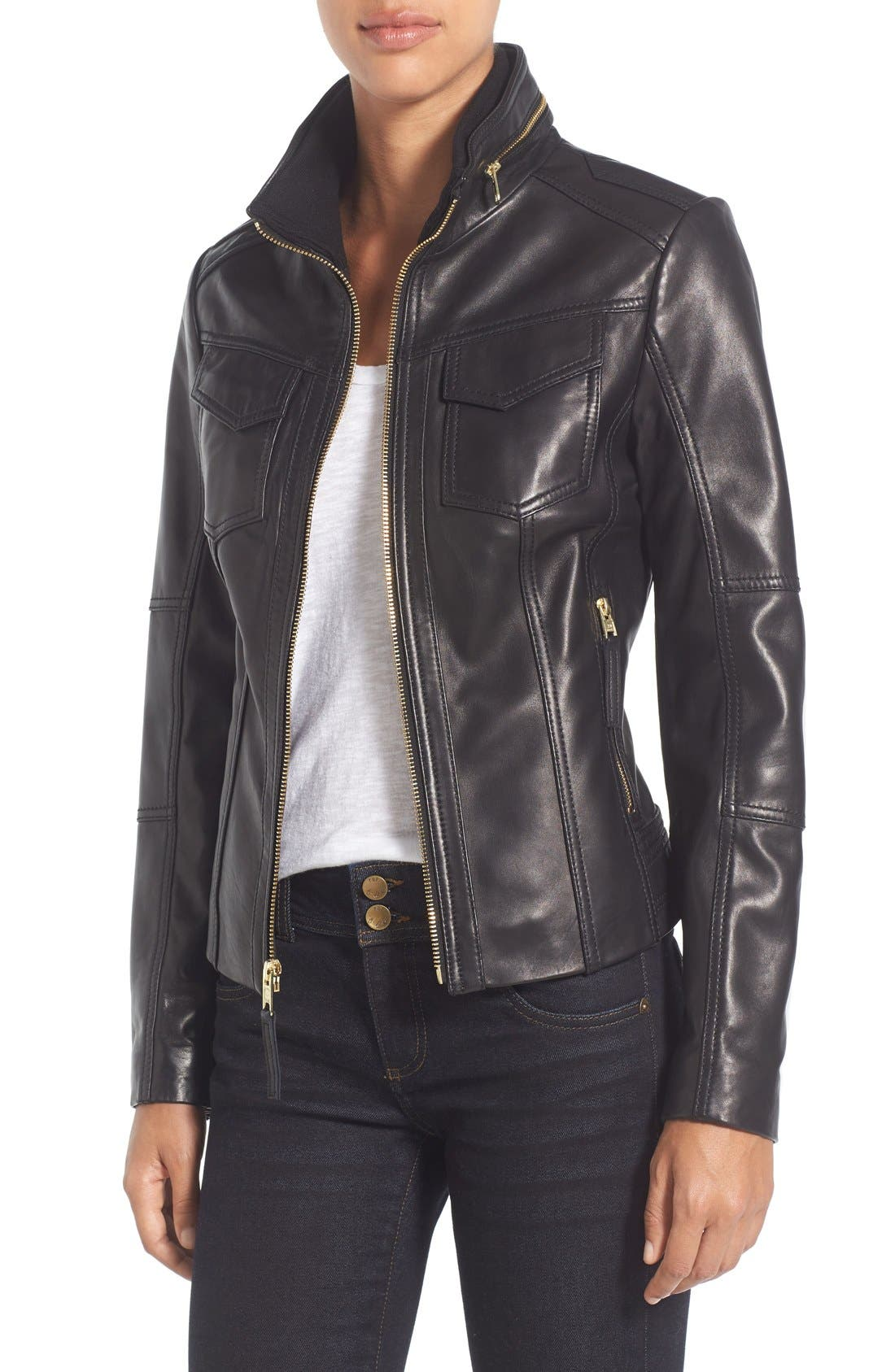 Main Image - MICHAEL Michael Kors Front Zip Leather Jacket (Regular & Petite)