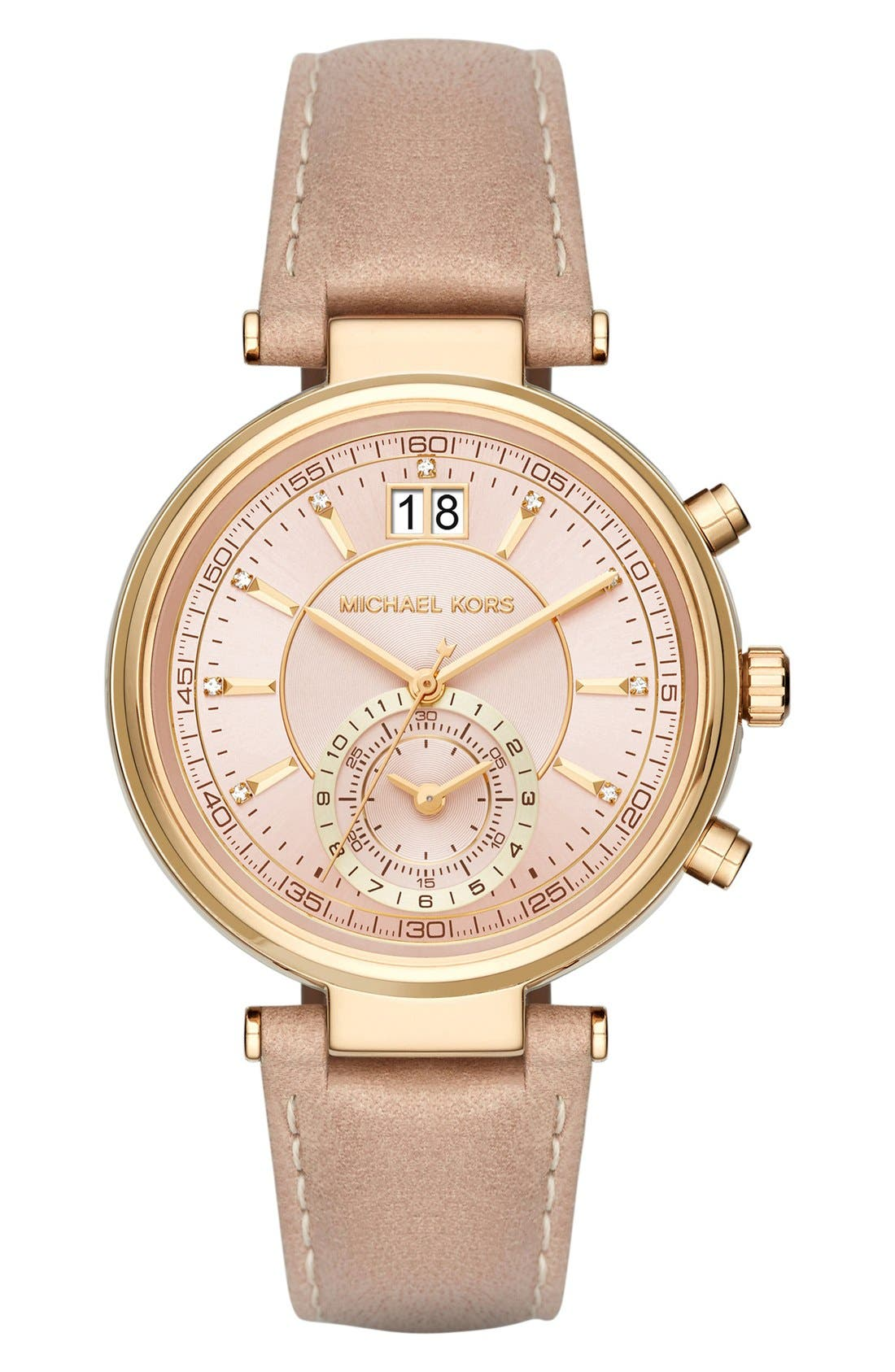MichaelKors'Sawyer' Leather Strap Watch,39mm,                         Main,                         color, Peanut/ Rose Gold