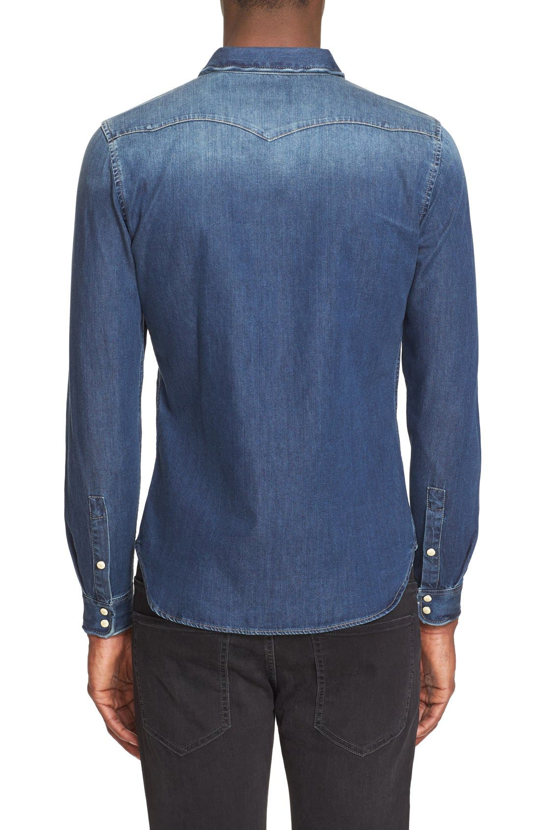 Trim Fit Washed Denim Western Shirt,                             Alternate thumbnail 3, color,                             Blue