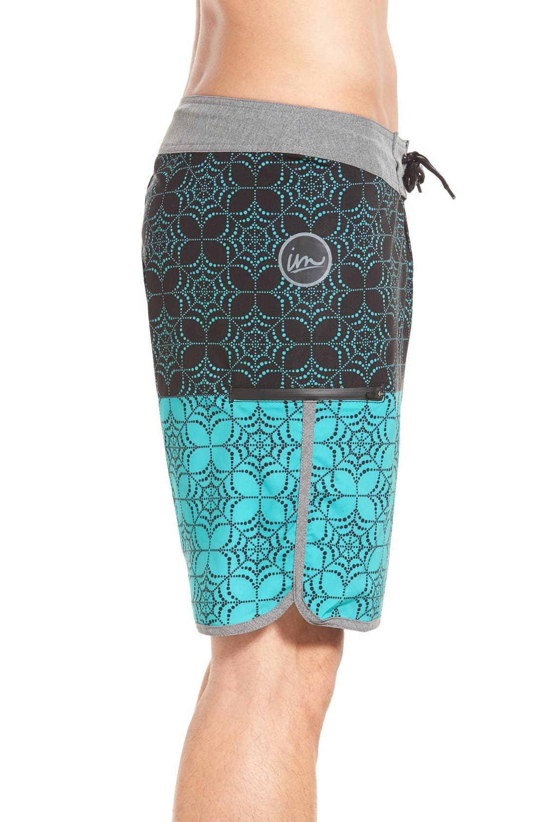 'Quest' Board Shorts,                             Alternate thumbnail 3, color,                             Black/ Aqua