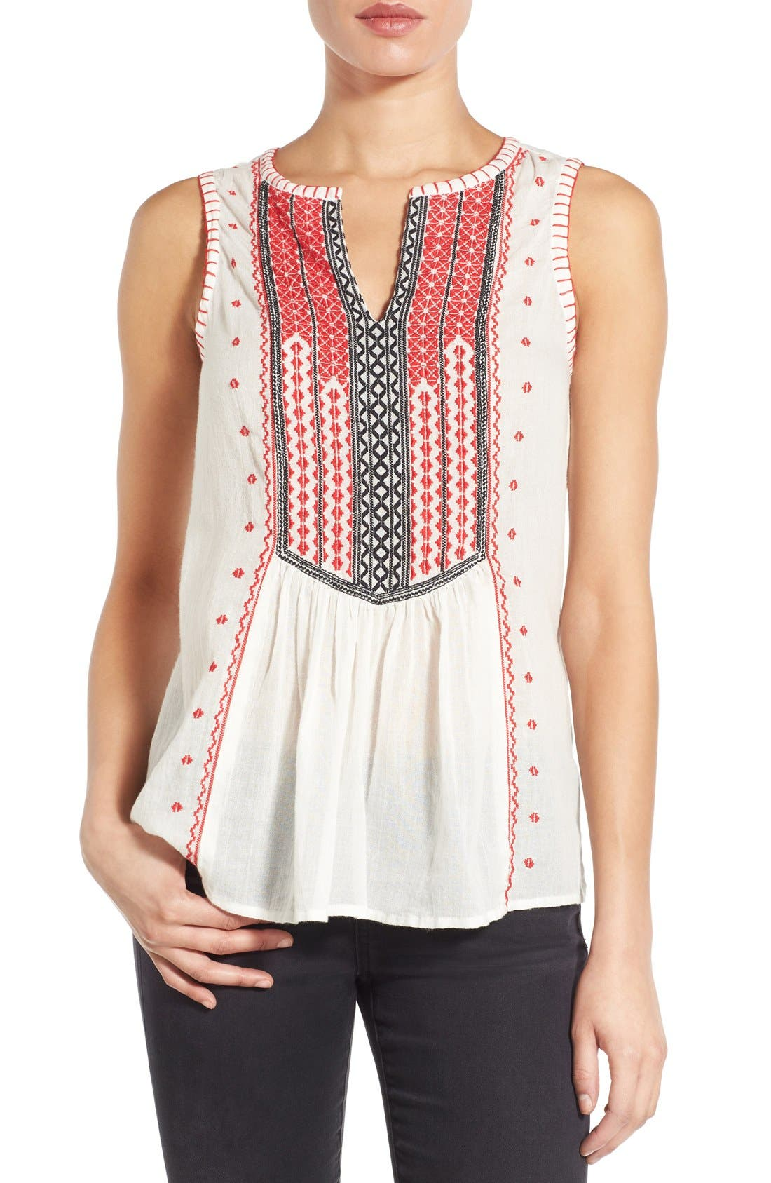 Alternate Image 1 Selected - Lucky Brand Embroidered Bib Cotton Tank