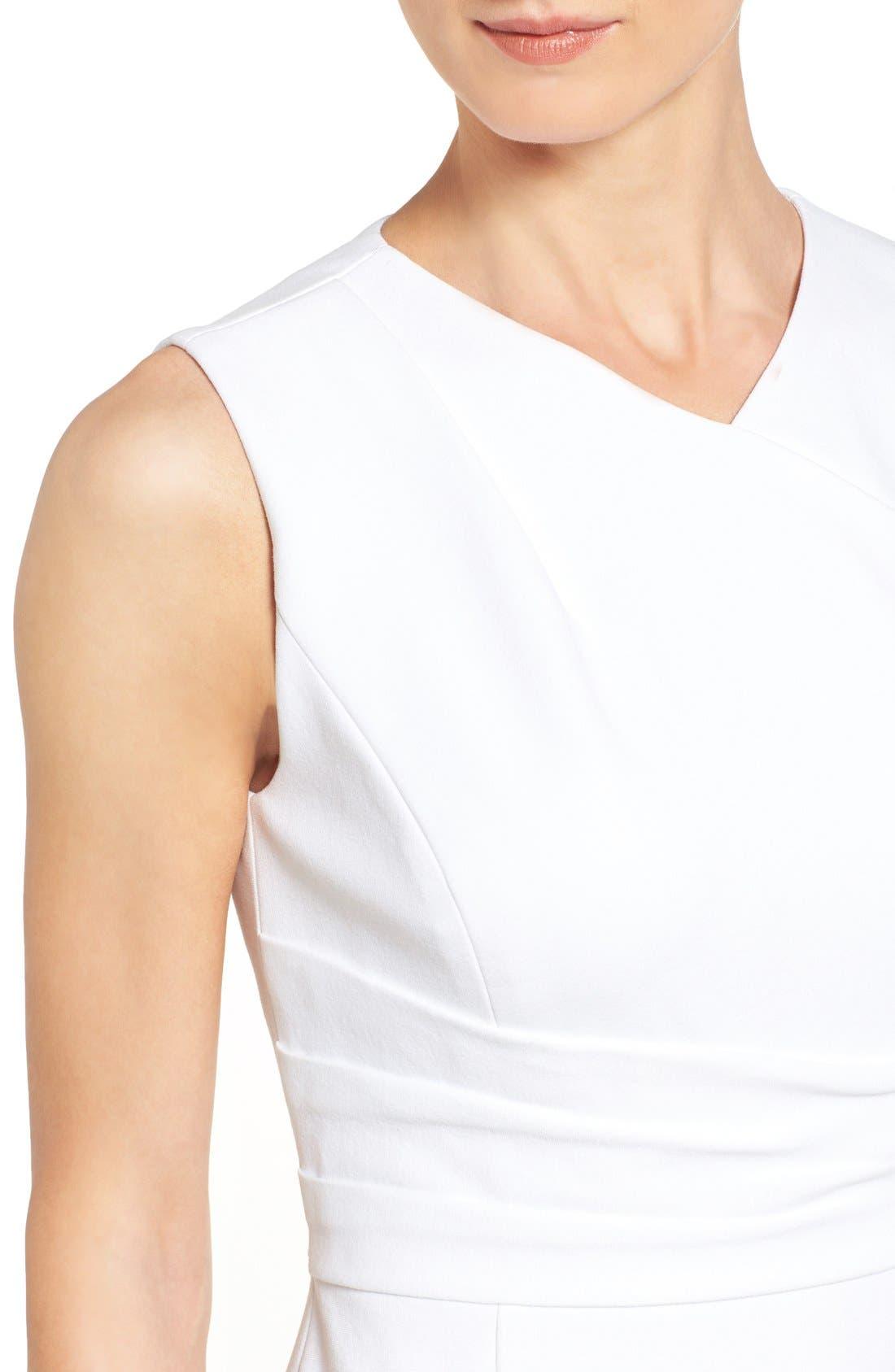 Pleat Waist Sleeveless Ponte Sheath Dress,                             Alternate thumbnail 4, color,                             White