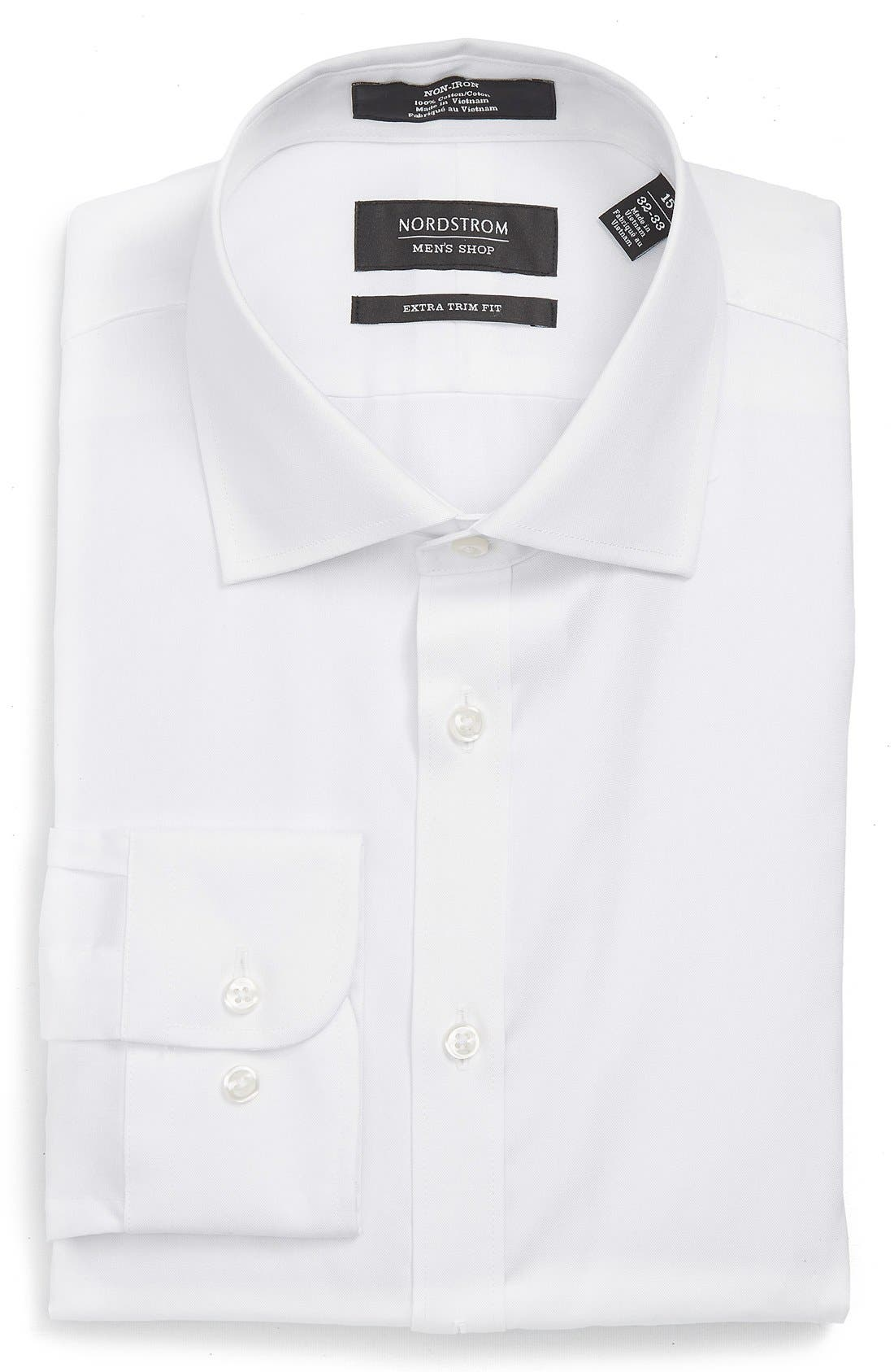 Main Image - Nordstrom Men's Shop Extra Trim Fit Non-Iron Solid Dress Shirt