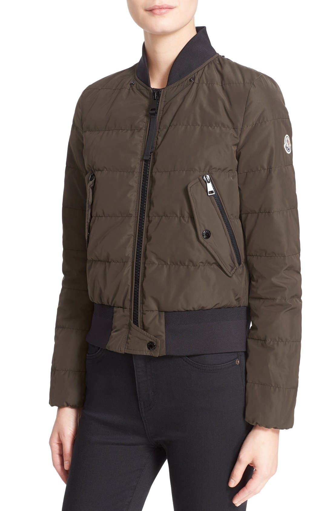 'Agathe' Water Resistant Hooded Down Jacket,                             Alternate thumbnail 6, color,                             Olive
