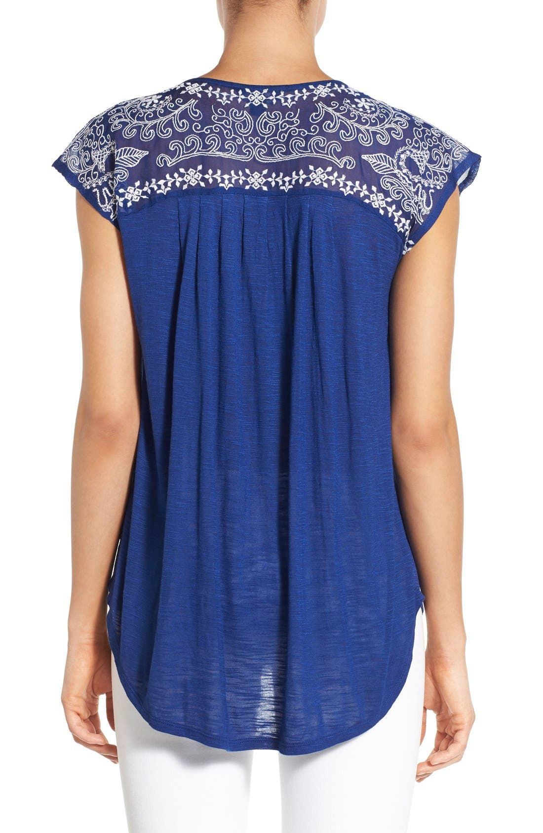Alternate Image 2  - Lucky Brand Embroidered Yoke Cap Sleeve Top
