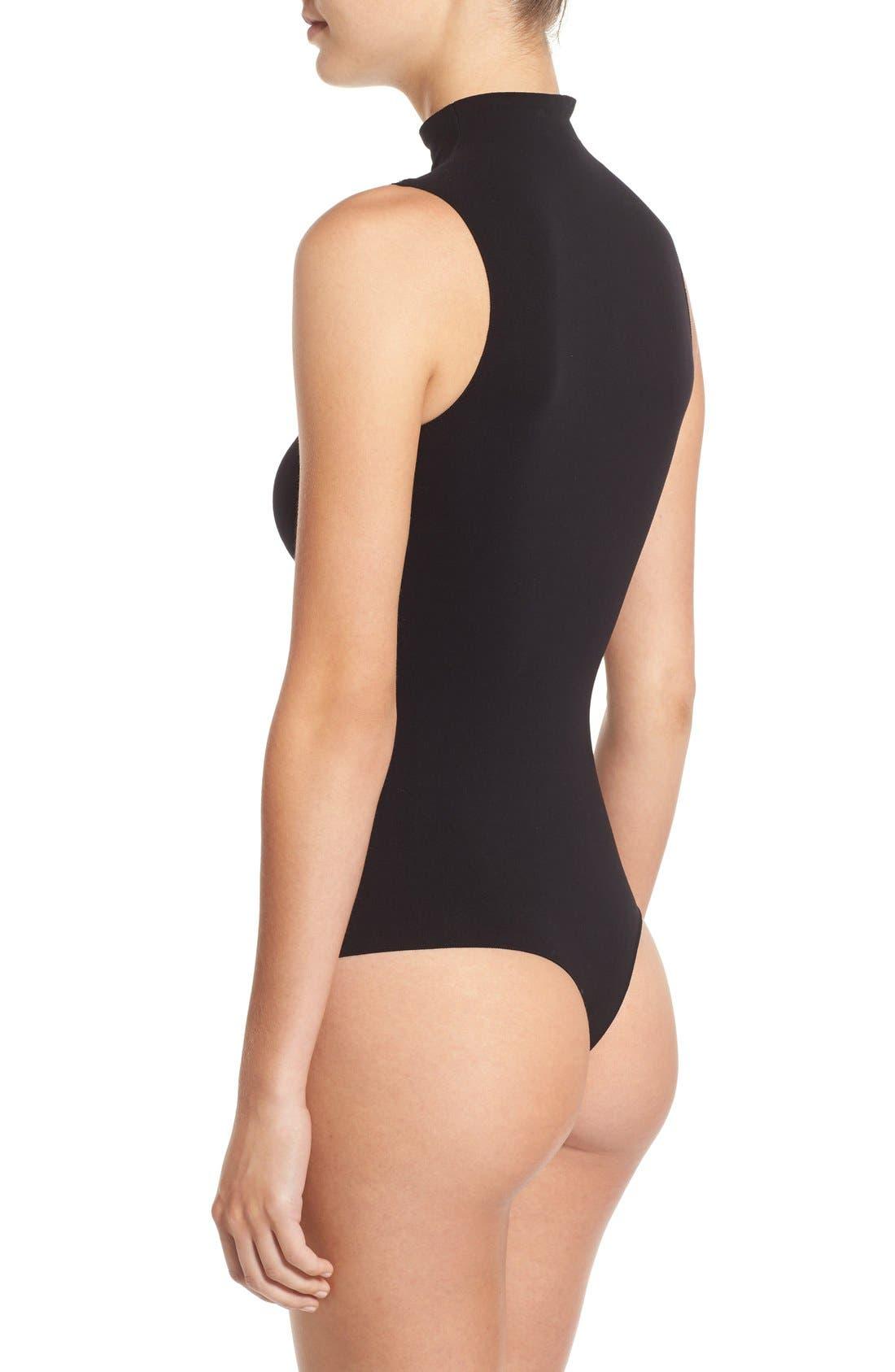 'Ballet Body' Sleeveless Thong Bodysuit,                             Alternate thumbnail 2, color,                             Black
