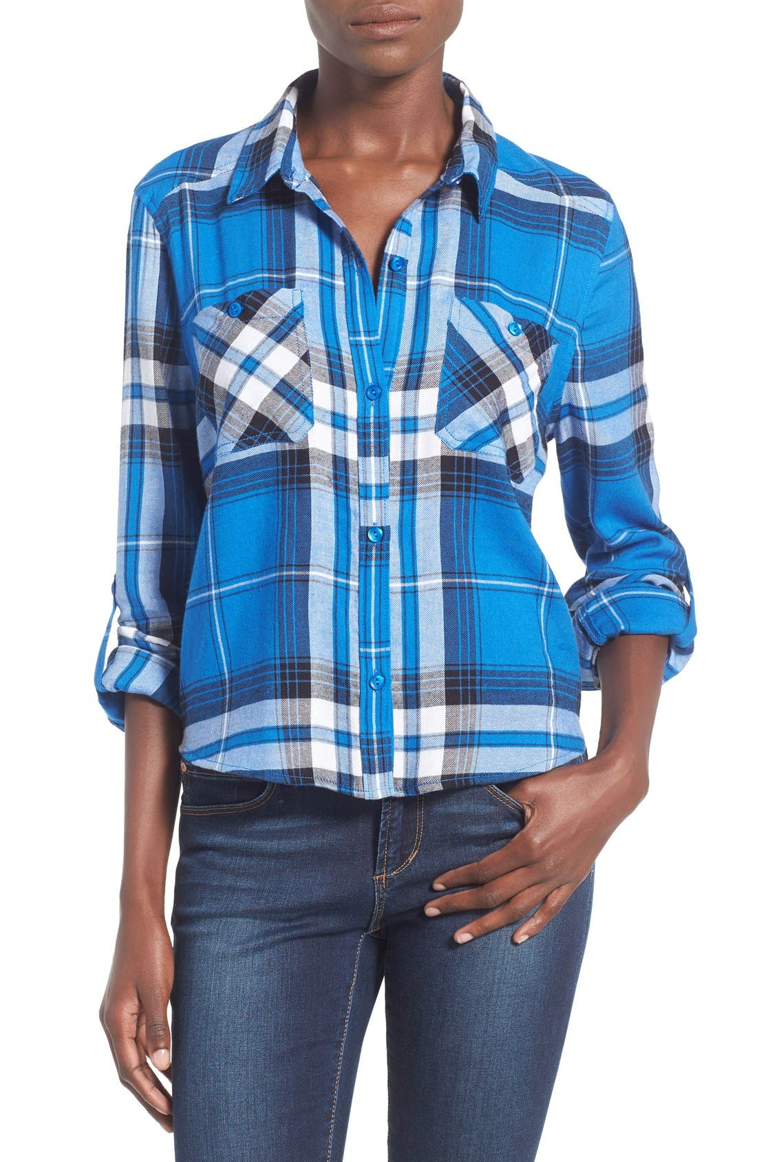 Main Image - BP. Crop Plaid Shirt