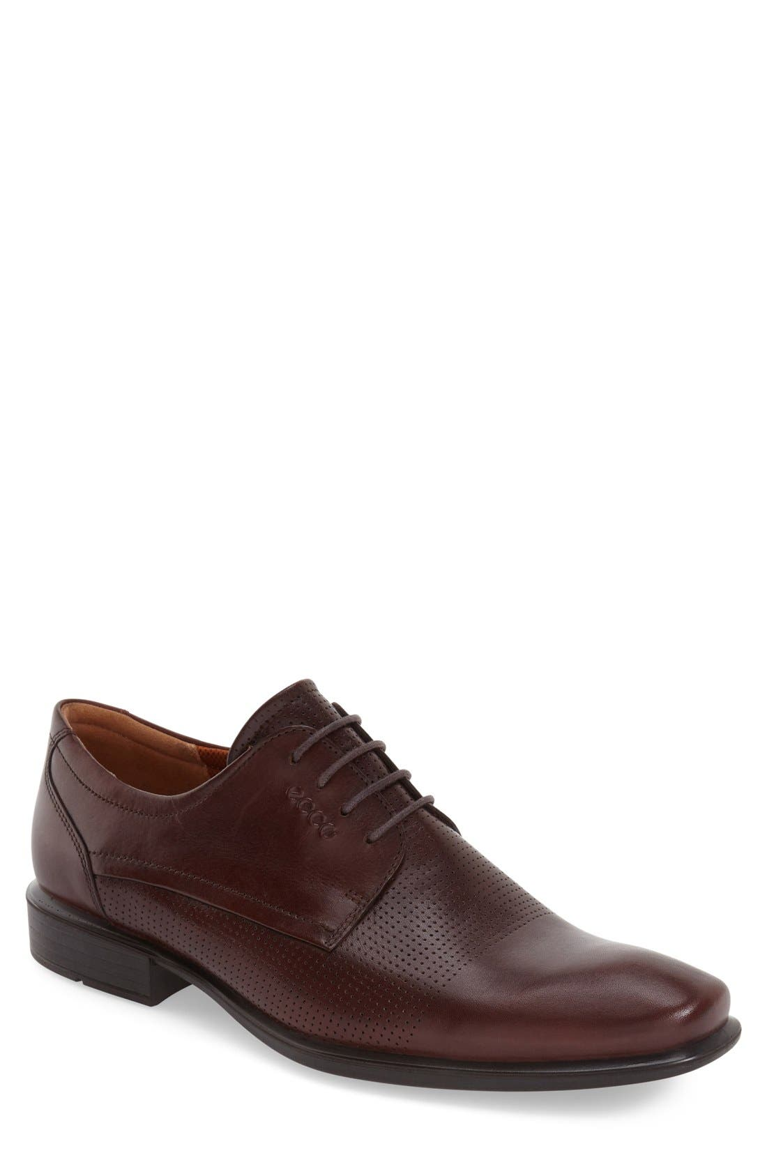 'Cairo' Perforated Plain Toe Derby,                         Main,                         color, Rust Brown Leather