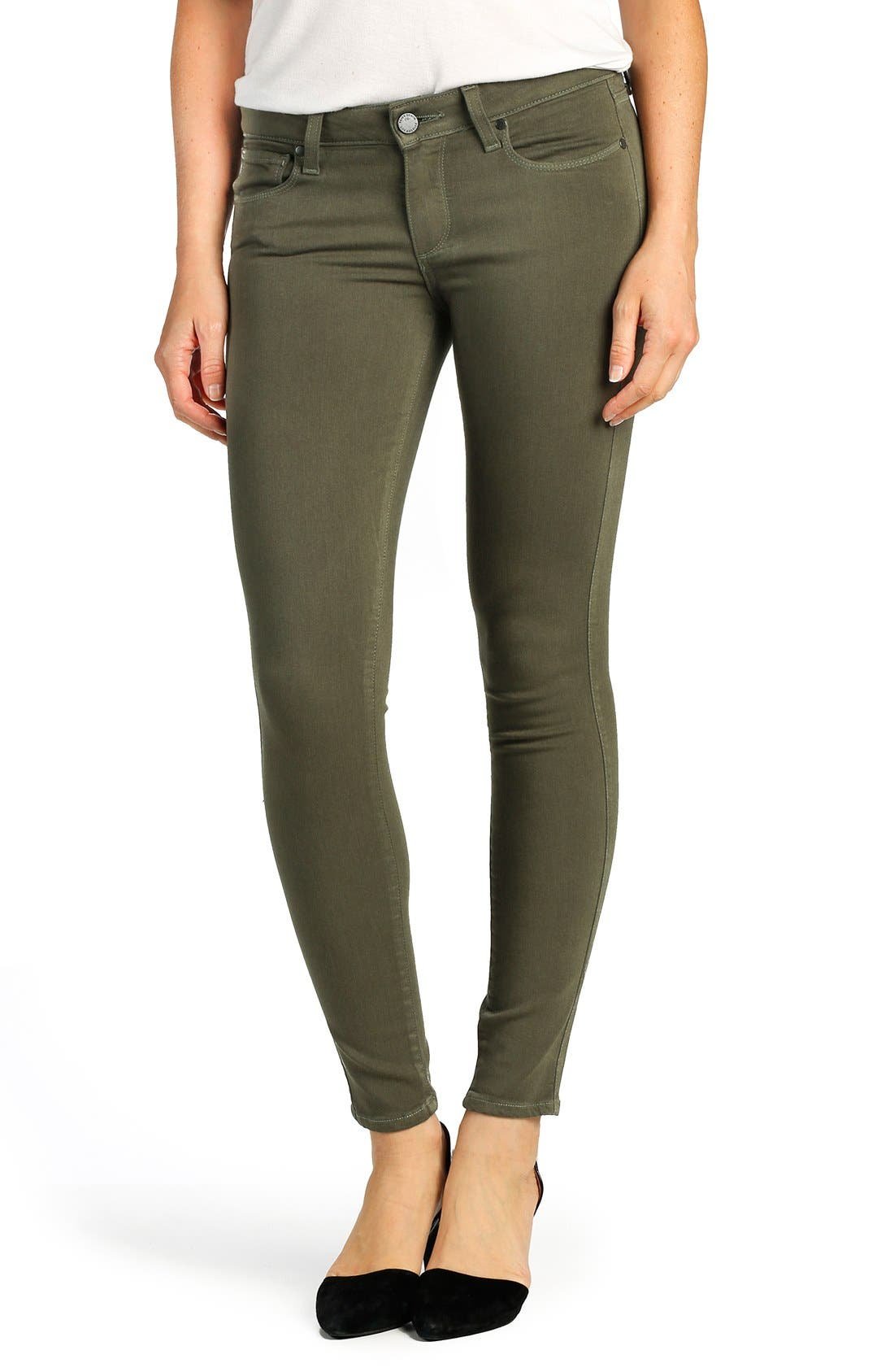 Alternate Image 1 Selected - PAIGE 'Transcend - Verdugo' Ankle Ultra Skinny Jeans (Desert Olive)