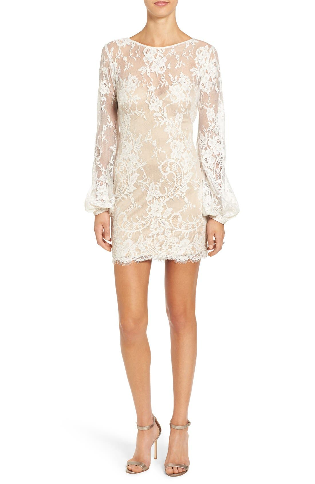 Alternate Image 1 Selected - Katie May 'Britney' Long Sleeve Open Back Lace Sheath Dress