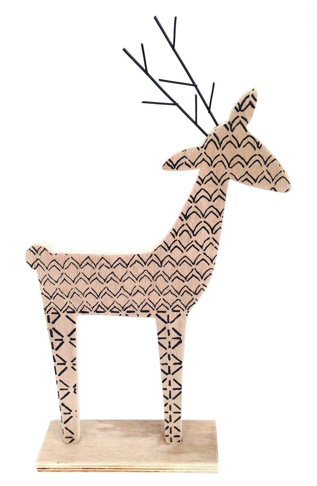 Wooden Deer Decoration,                             Alternate thumbnail 2, color,                             Natural/ Black
