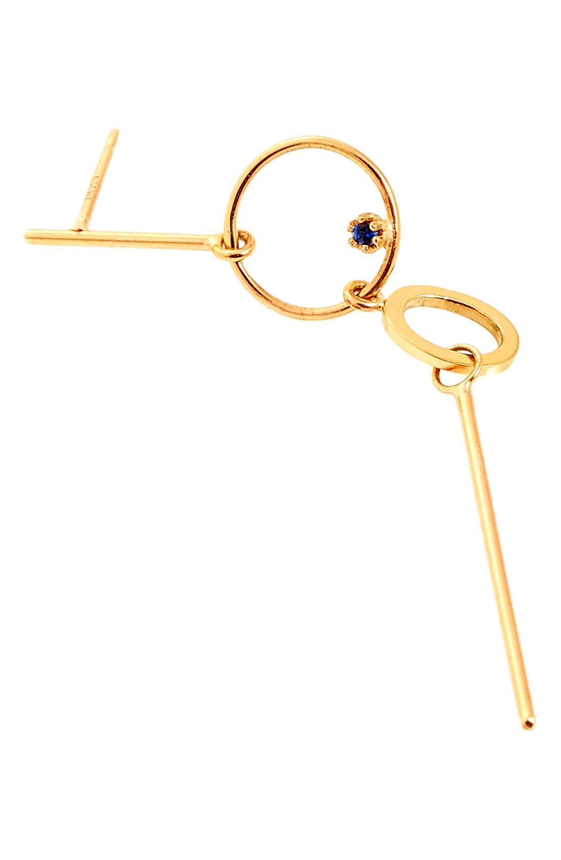 SARAH & SEBASTIAN 'Long Bubble' Gold & Sapphire Statement Earring