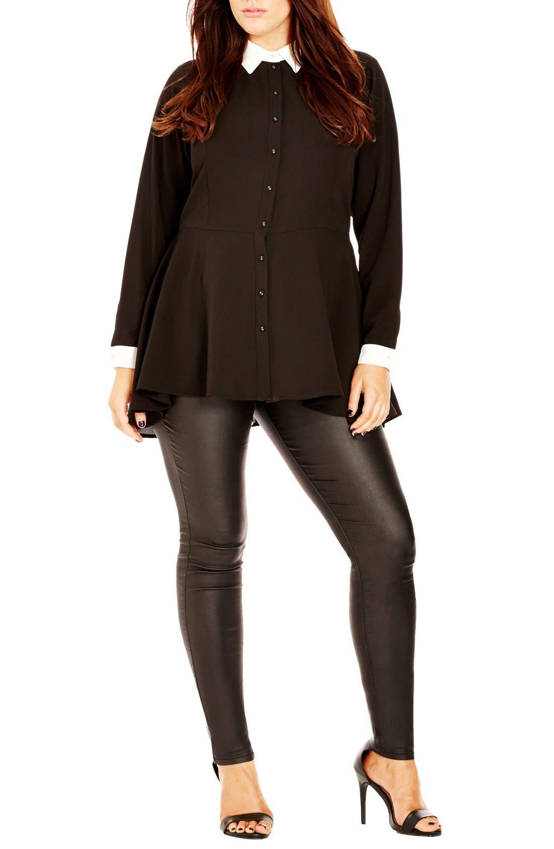 Contrast Trim Fit & Flare Shirt,                         Main,                         color, Black