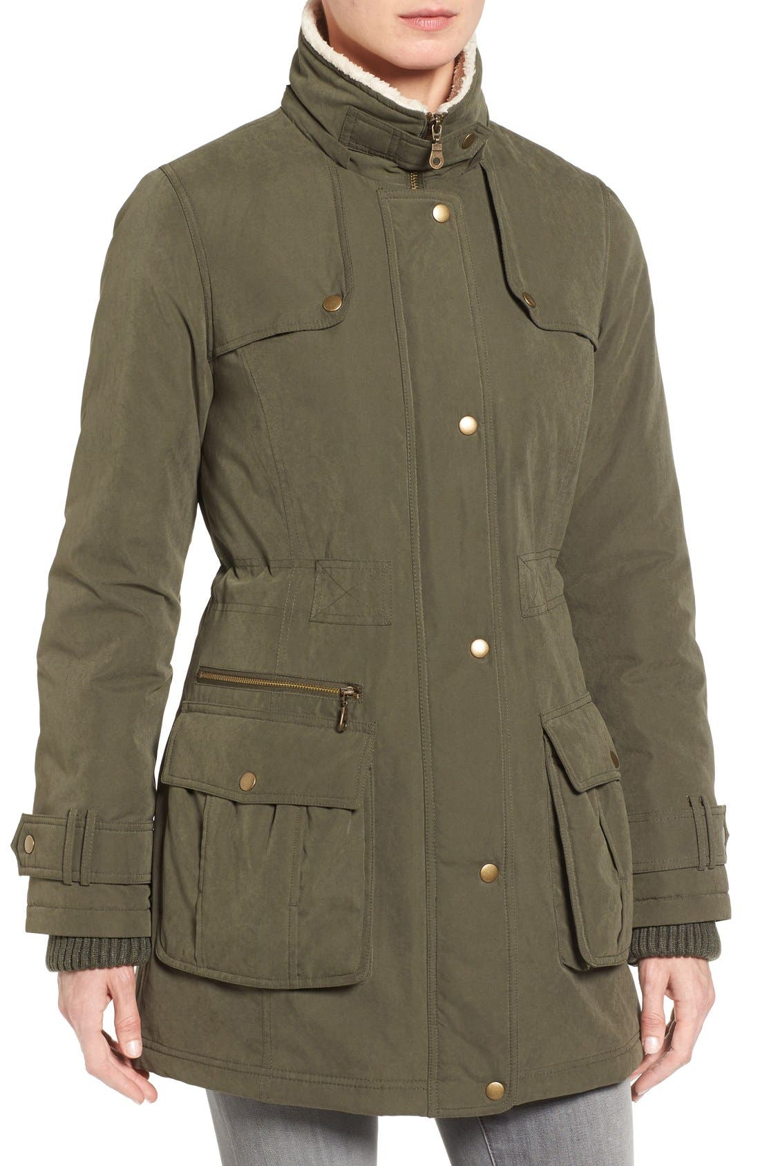 Hooded Anorak with Faux Fur Trim,                             Alternate thumbnail 4, color,                             Olive