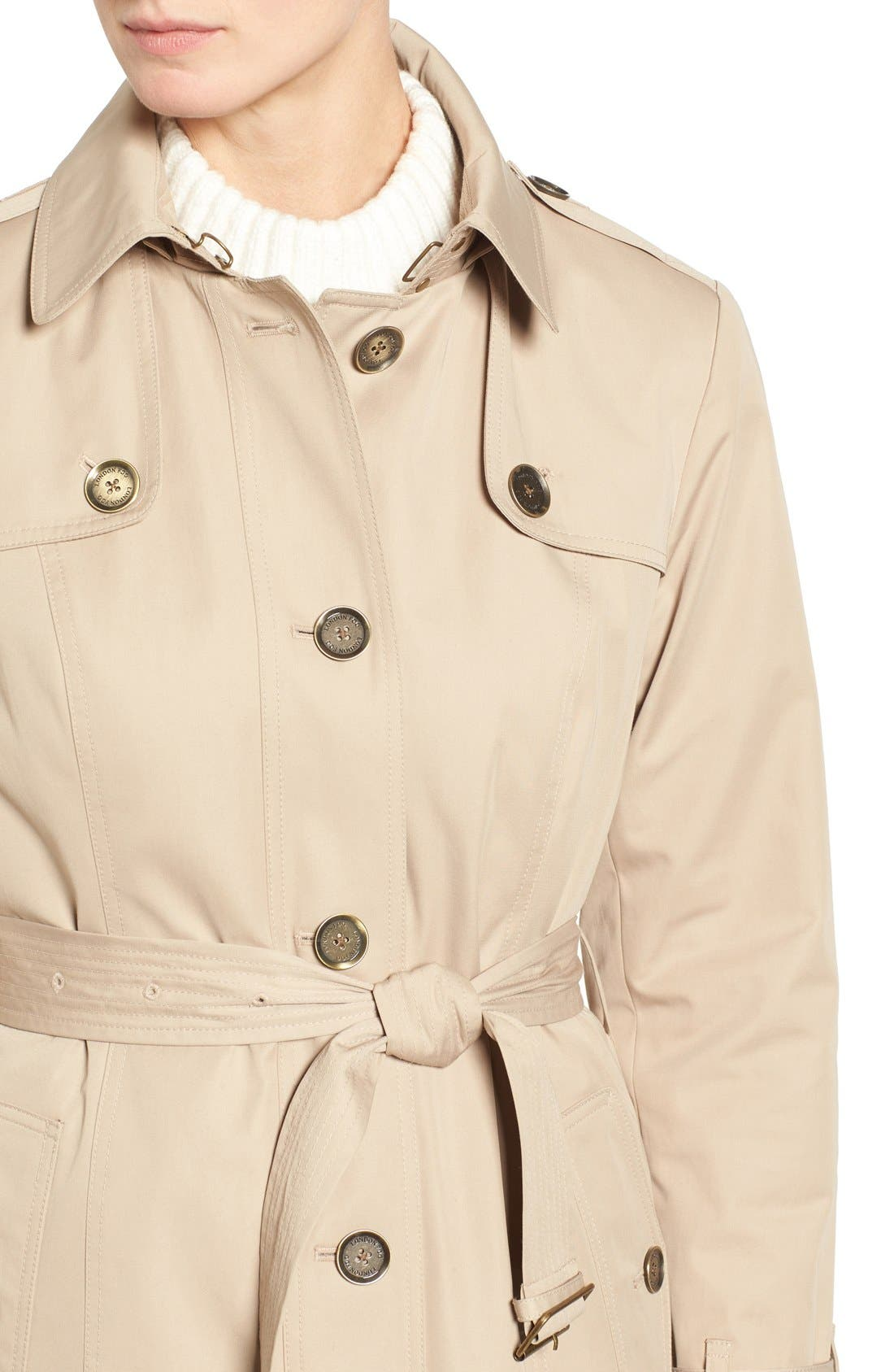 Alternate Image 4  - London Fog Single Breasted Trench Coat (Regular & Petite)
