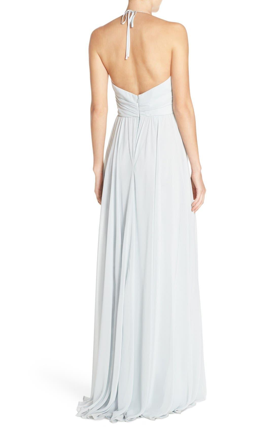 'Jennifer' V-Neck Chiffon Halter Gown,                             Alternate thumbnail 2, color,                             Spa